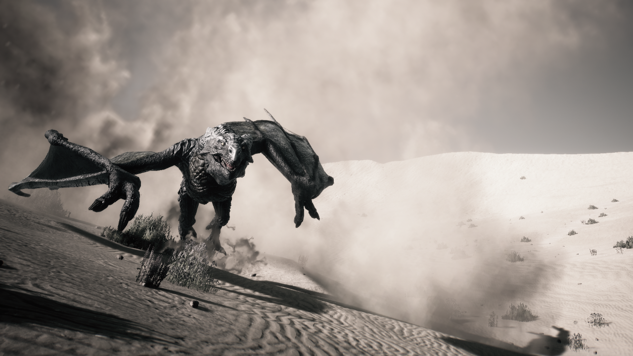 a sepia-toned image of a dragon running through desert sands