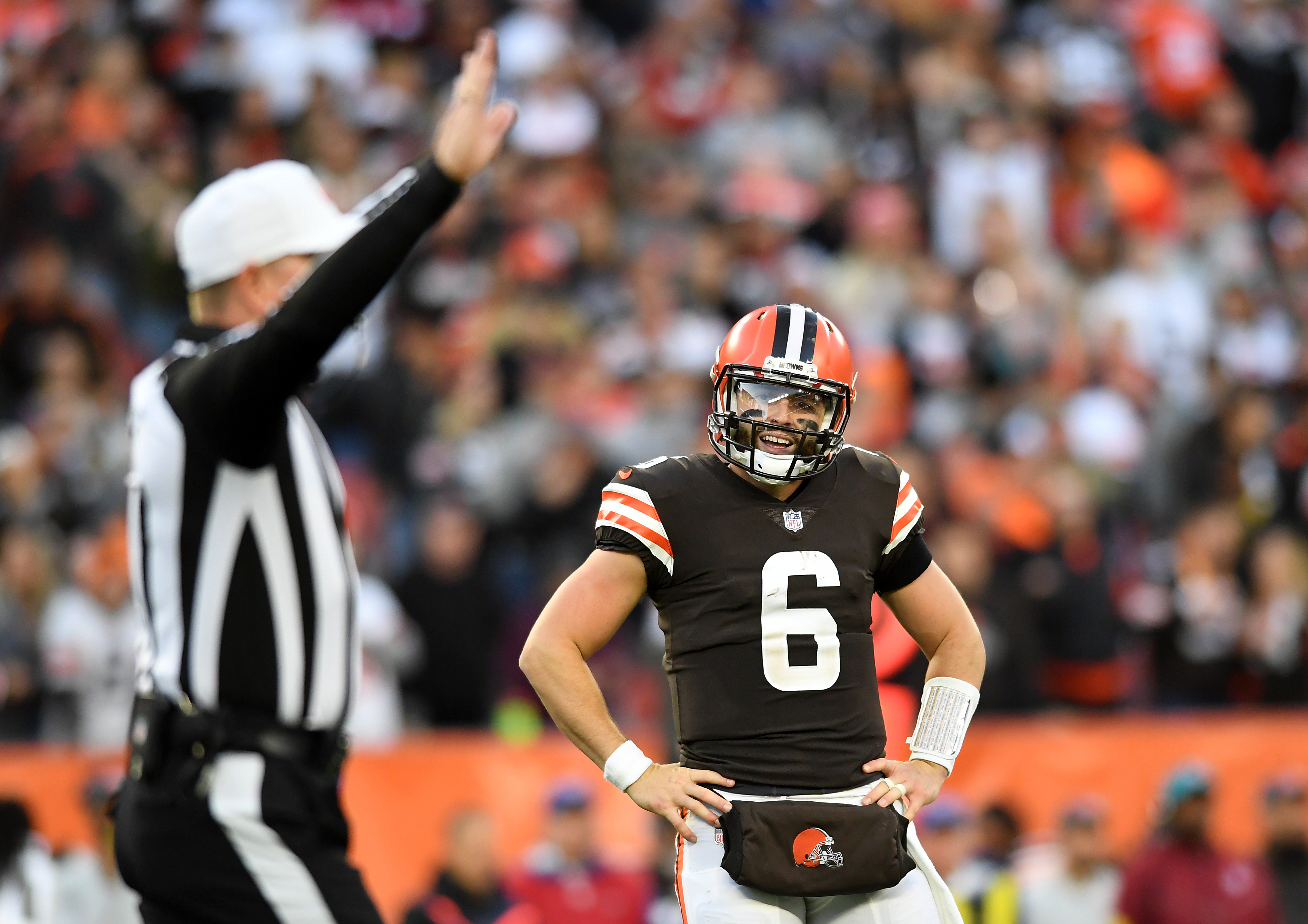 Baker Mayfield #6 of the Cleveland Browns reacts after a call during the fourth quarter against the Arizona Cardinals at FirstEnergy Stadium on October 17, 2021 in Cleveland, Ohio.