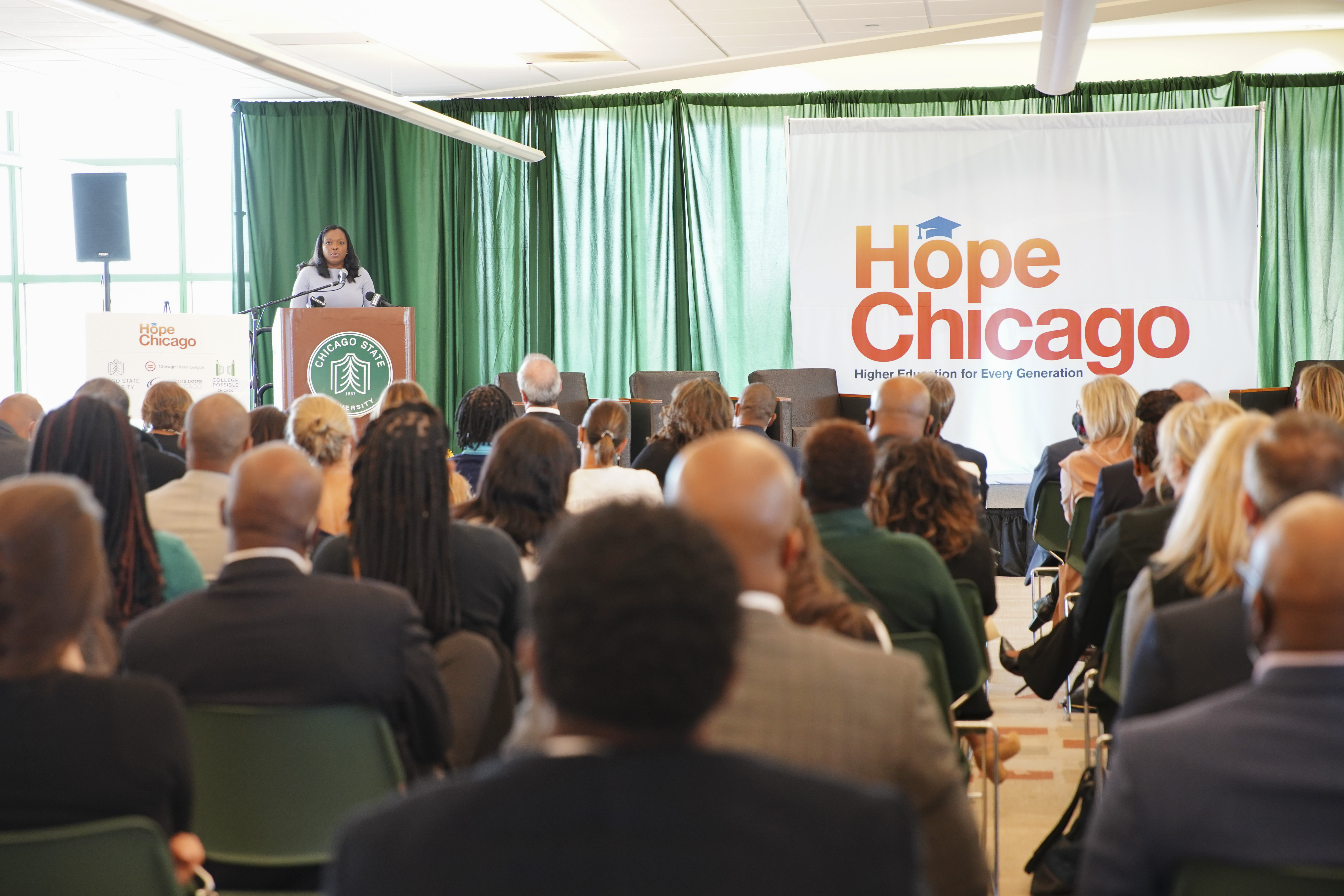 Janice Jackson speaks about Hope Chicago, a new scholarship fund that supports Chicago students and their families by providing a debt-free post-secondary education and wraparound support, during a launch event, Monday, Oct. 18 at Chicago State University in Rosemoor, 2021.