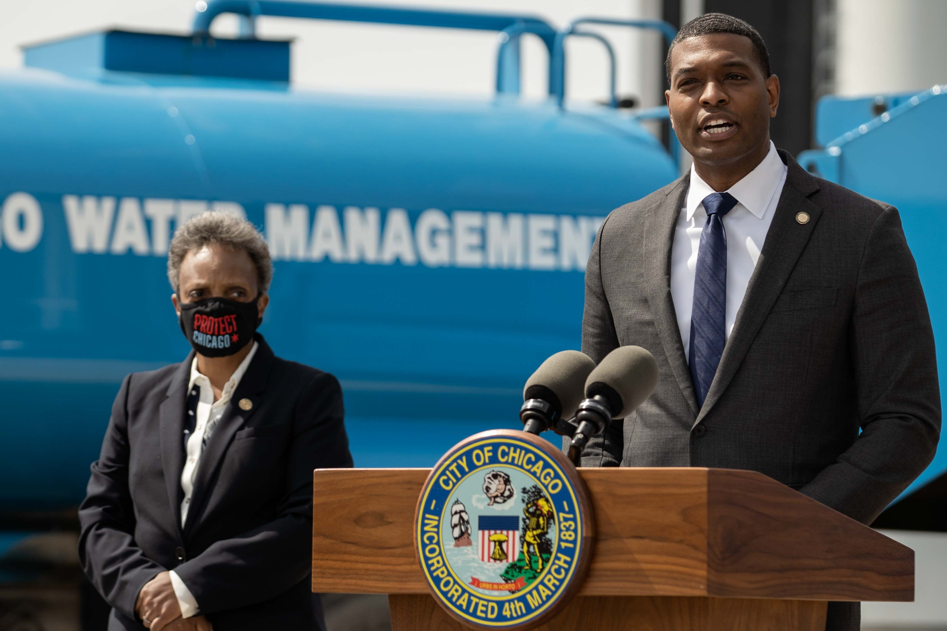 """EPA Administrator Michael Regan, pictured here with Mayor Lori Lightfoot during a visit to Chicago in May, announced a """"roadmap"""" to address PFAS contamination, especially in drinking water."""
