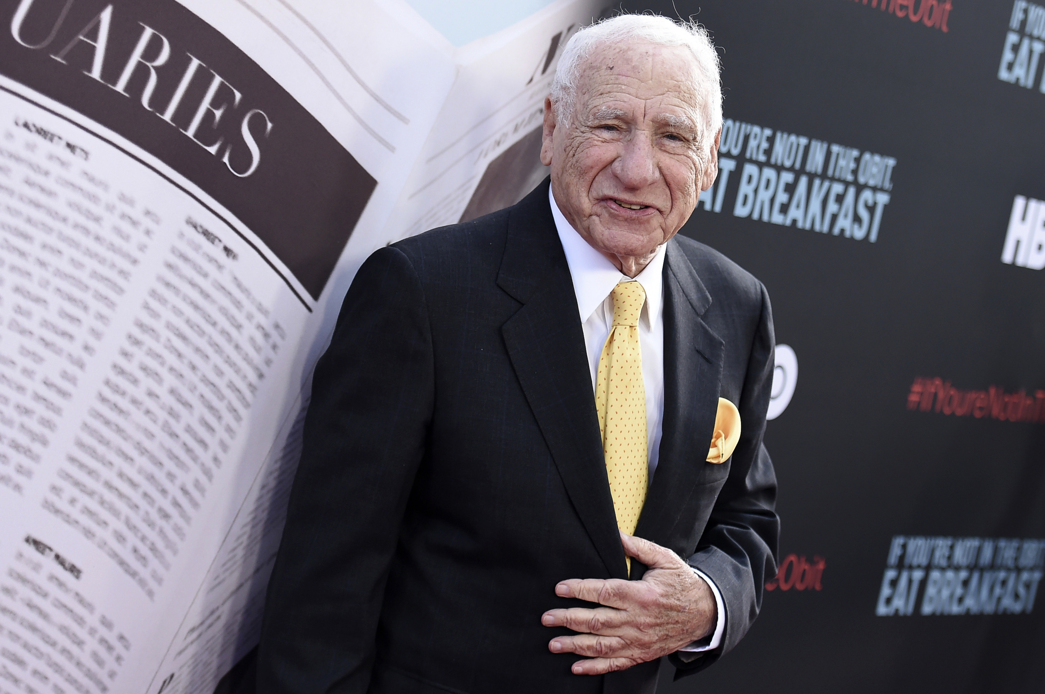 """In this May 17, 2017 file photo, Mel Brooks attends the premiere of """"If You're Not In The Obit, Eat Breakfast"""" in Beverly Hills, California."""