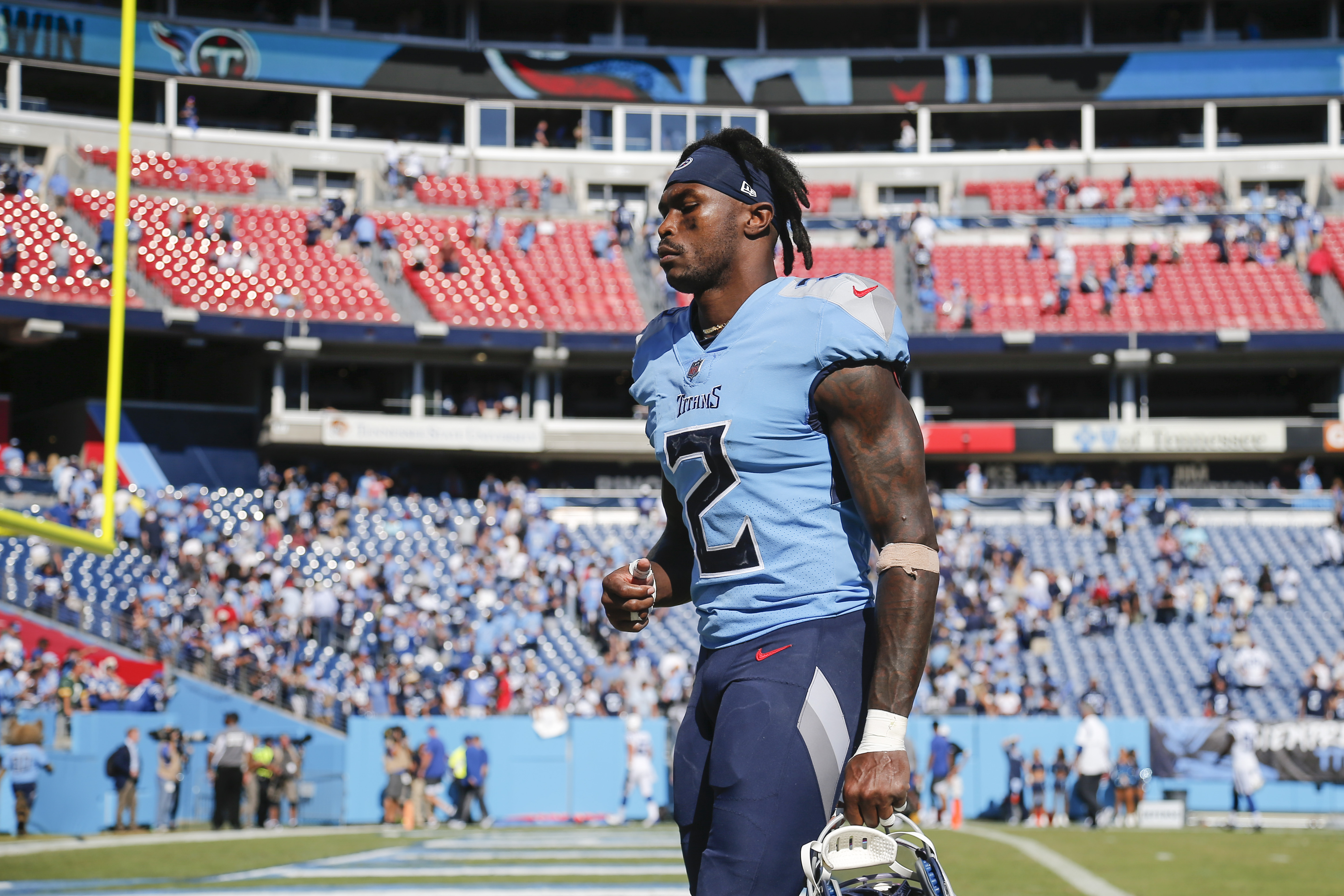 Julio Jones #2 of the Tennessee Titans walks off the field after the game against the Indianapolis Colts at Nissan Stadium on September 26, 2021 in Nashville, Tennessee.