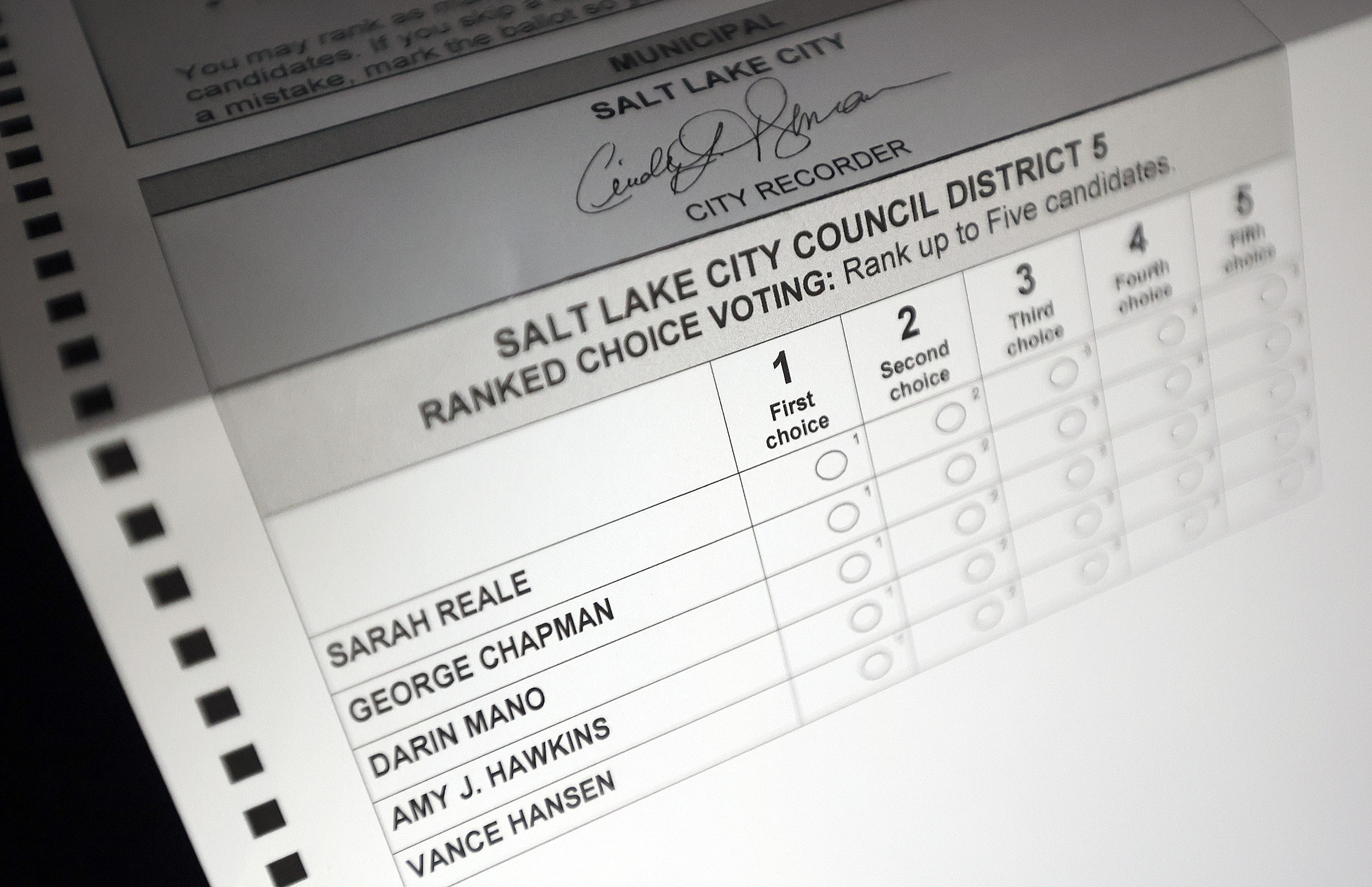 A Salt Lake City Council ballot with ranking options is pictured in Salt Lake City on Friday, Oct. 15, 2021.
