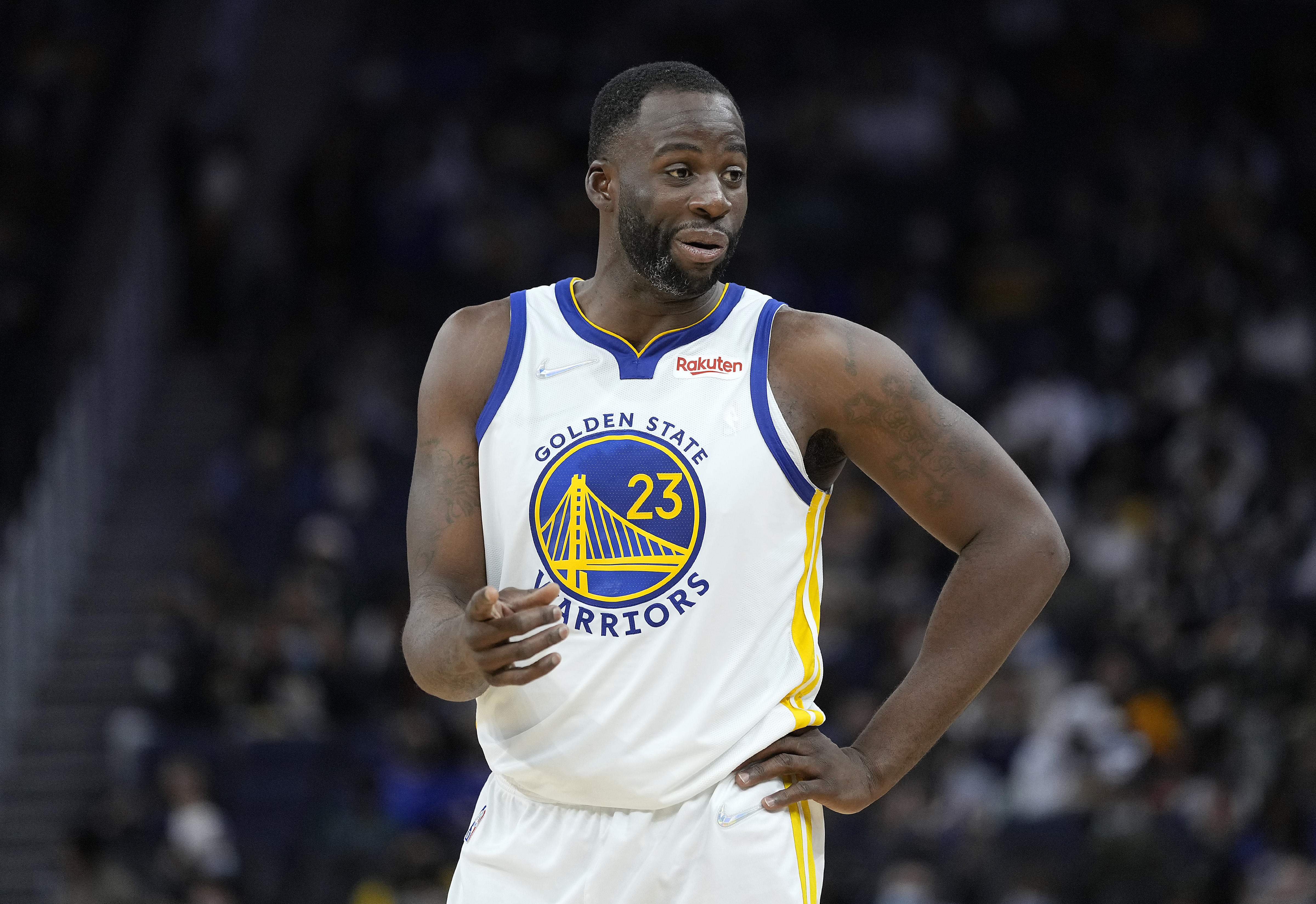 Draymond Green #23 of the Golden State Warriors looks on against the Portland Trail Blazers during the second half of their game at Chase Center on October 15, 2021 in San Francisco, California.