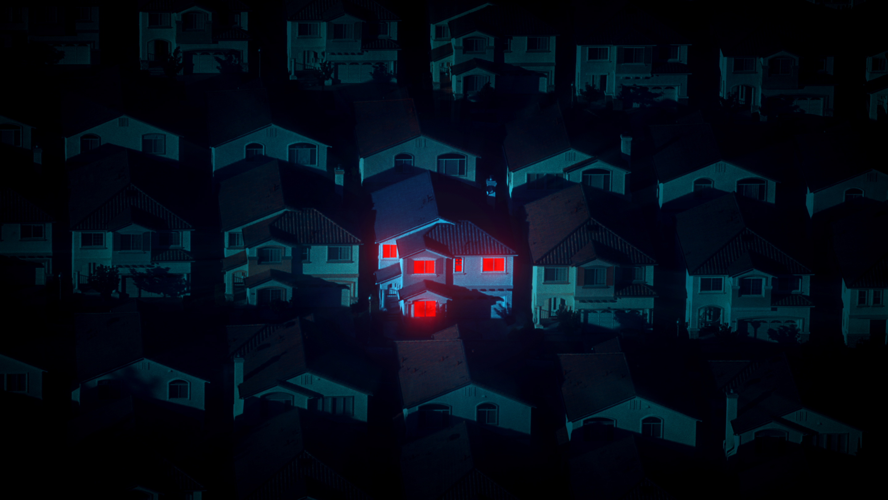 Rows of houses lined up on a dark street. One house is illuminated by a red light.