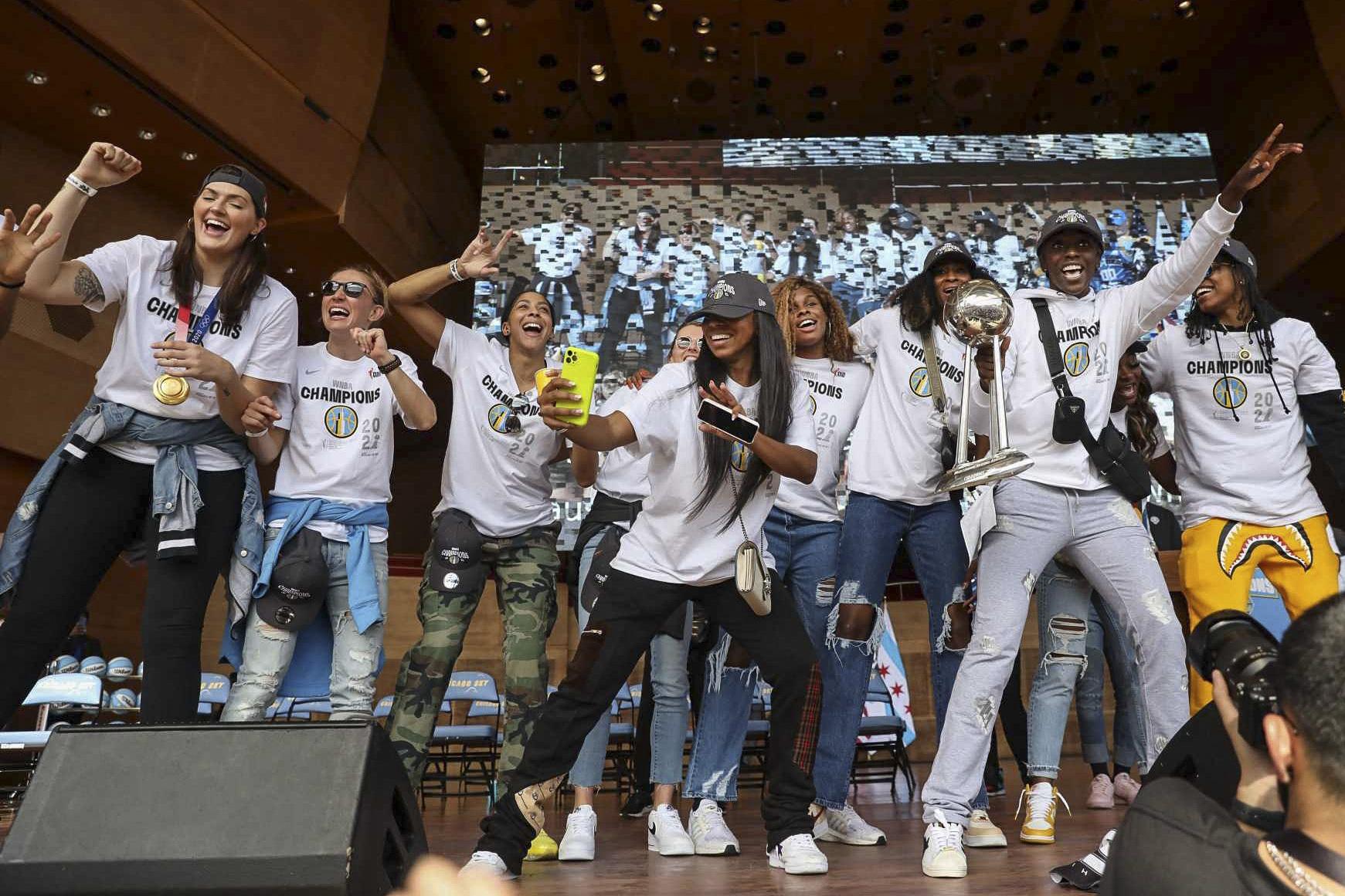 The Chicago Sky celebrates its WNBA Championship title at Pritzker Pavilion.