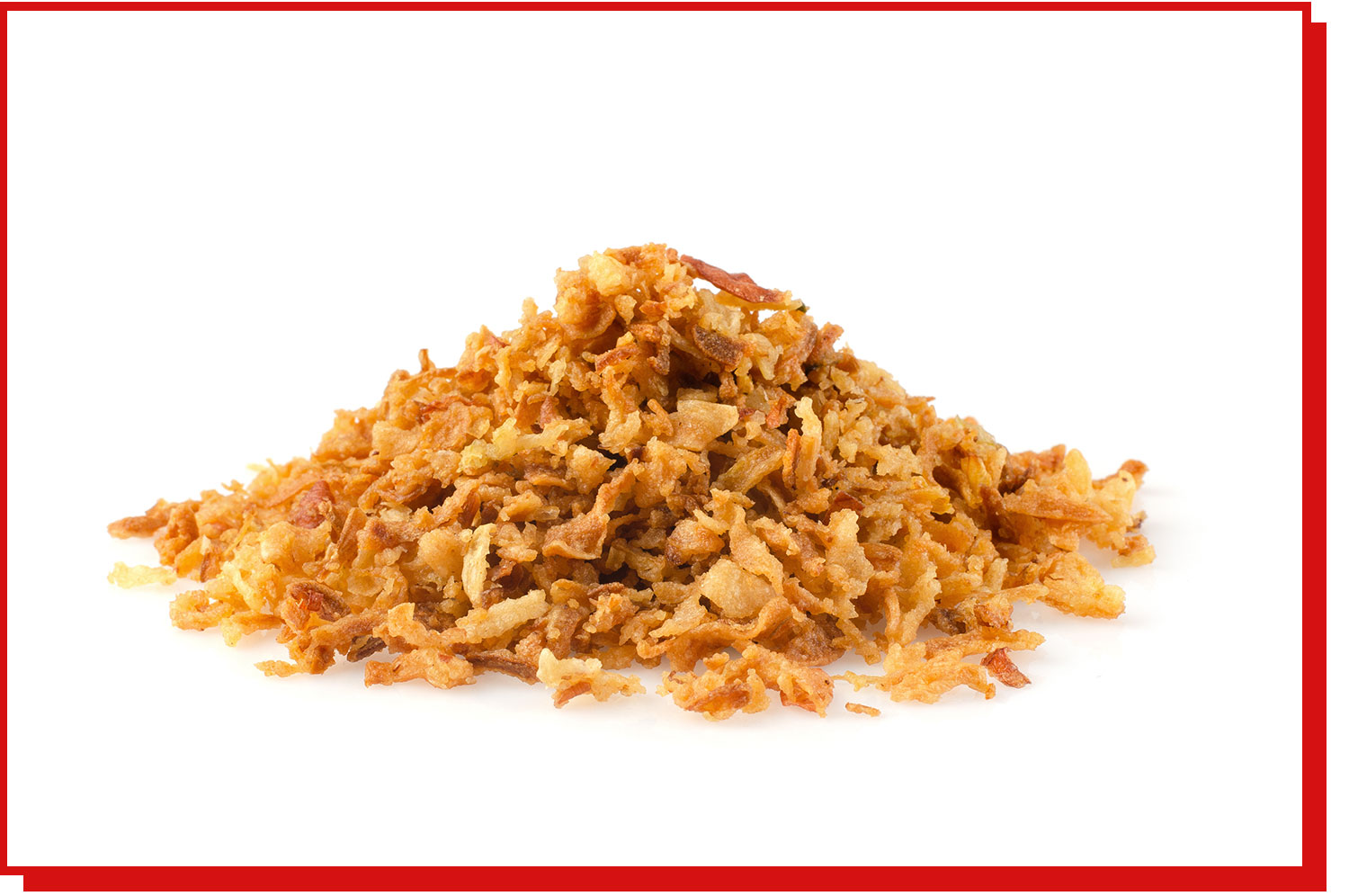 A pile of French fried onions on a white background.