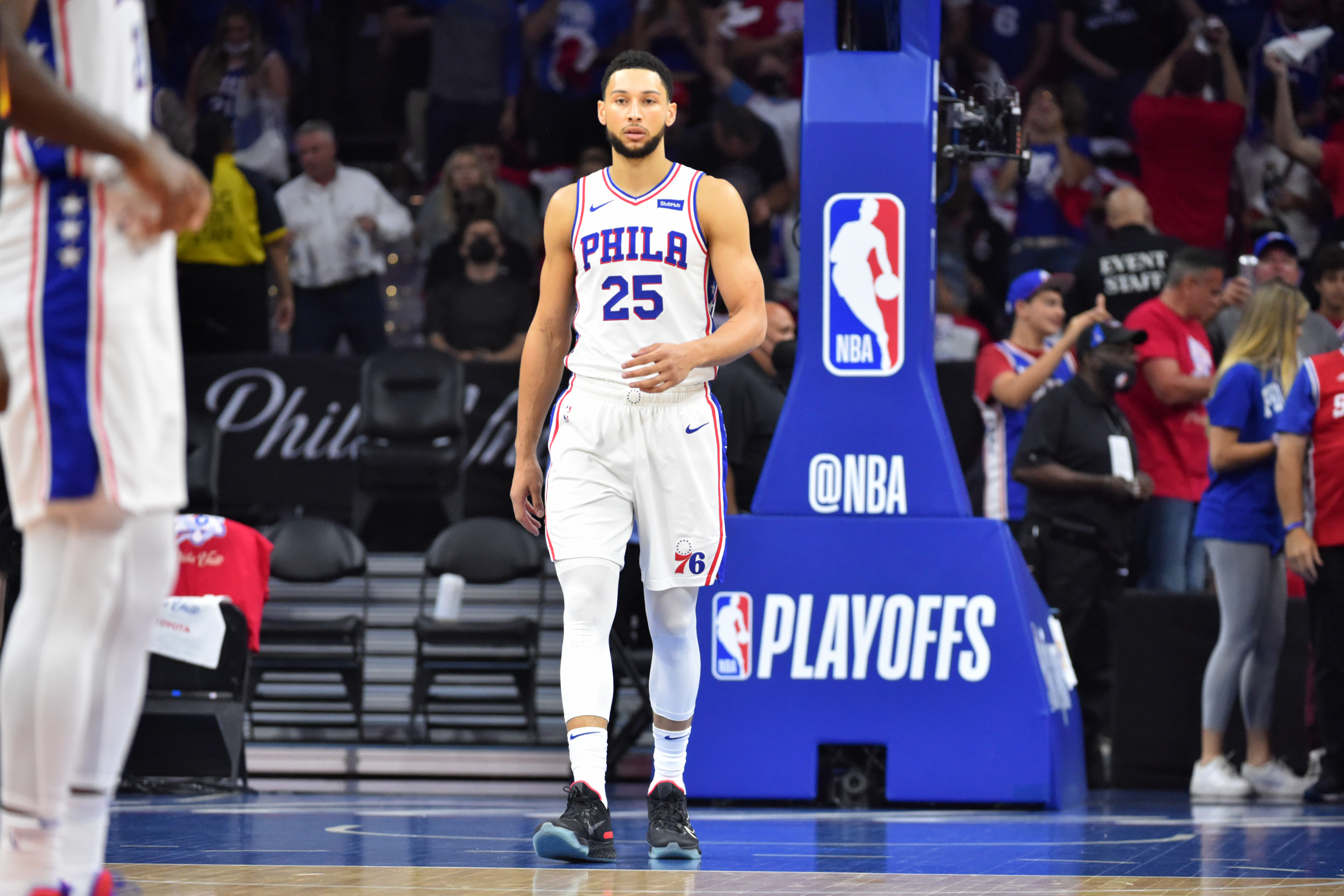 Ben Simmons #25 of the Philadelphia 76ers looks on during Round 2, Game 7 of the Eastern Conference Playoffs on June 20, 2021 at Wells Fargo Center in Philadelphia, Pennsylvania.