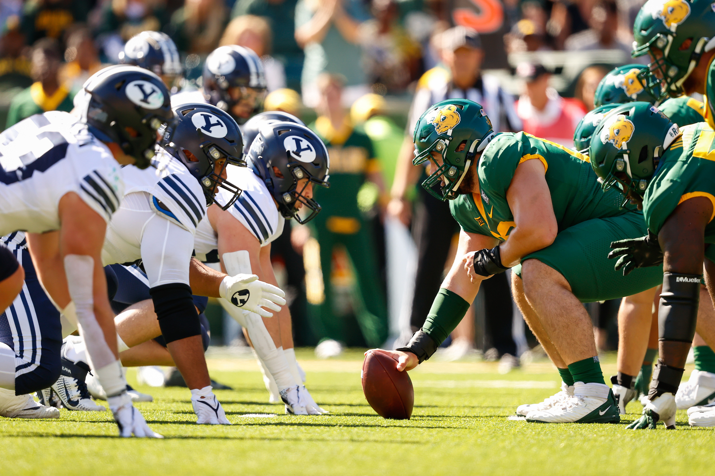 BYU defensive linemen prepare for a snap during game against Baylor on Oct. 16, 2021, at McLane Stadium in Waco, Texas.