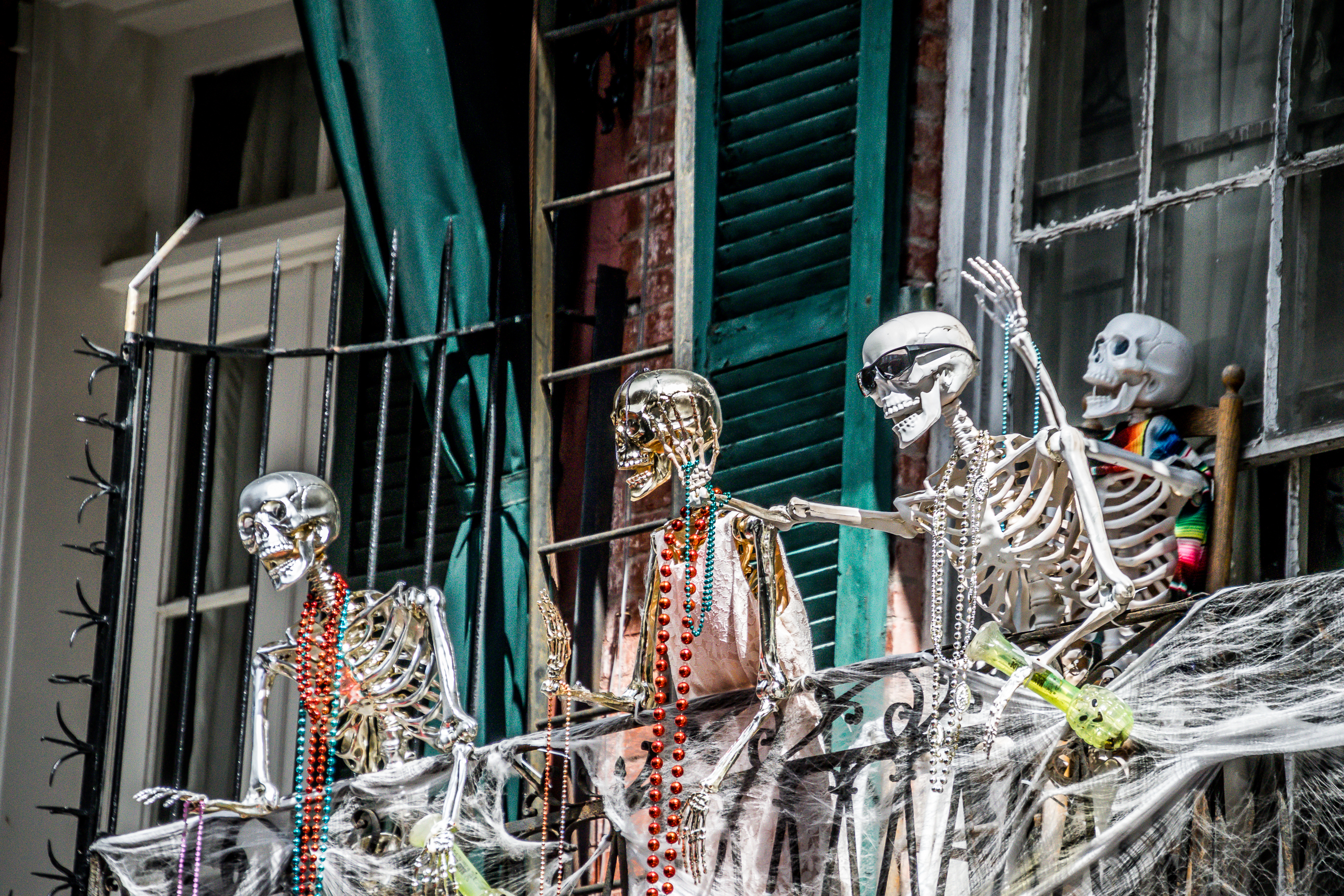 Skeleton decorations on a balcony in New Orleans's French Quarter