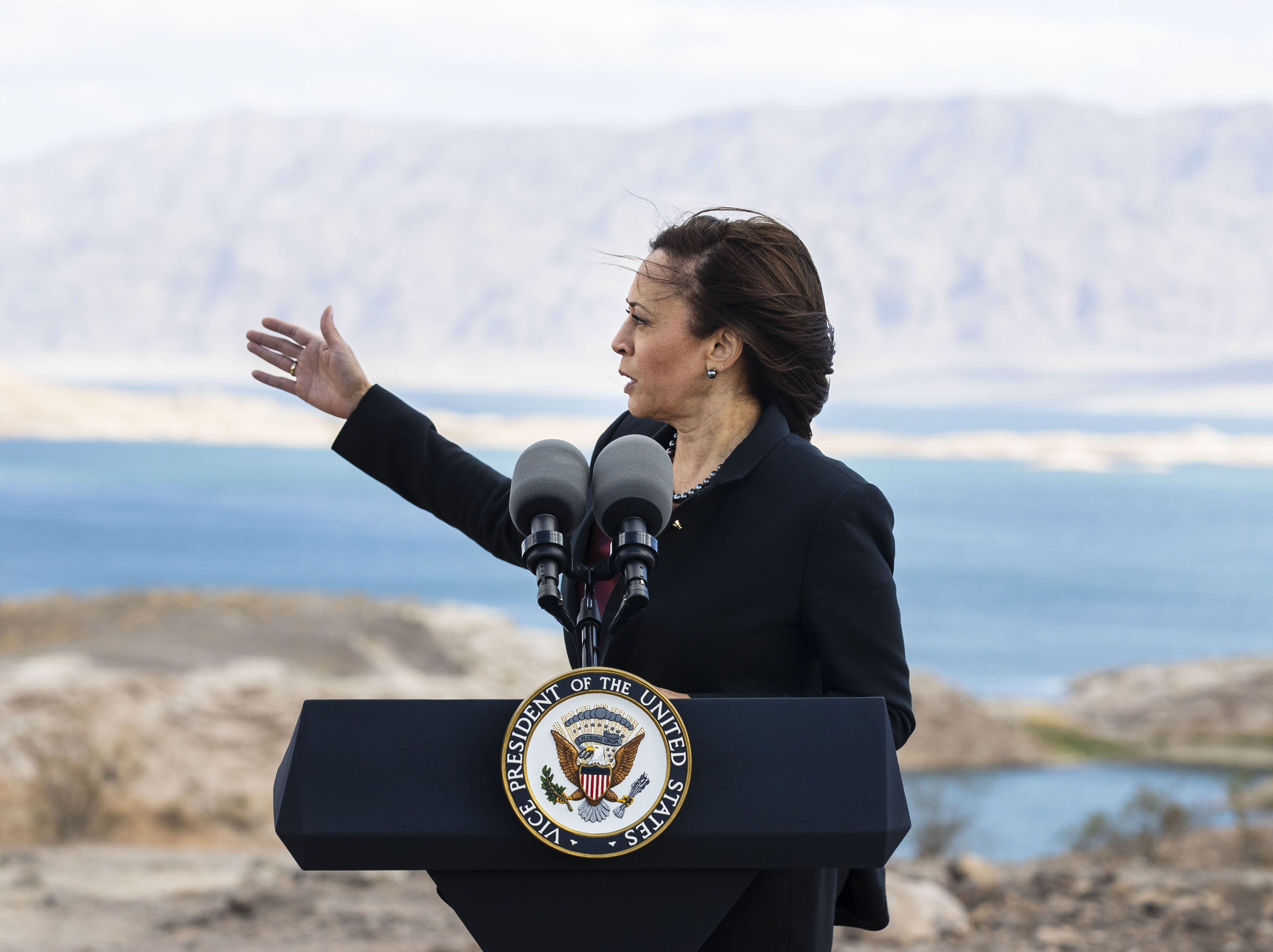 Vice President Kamala Harris addresses climate change after visiting the Sunset Overlook at Lake Mead National Recreation Area.
