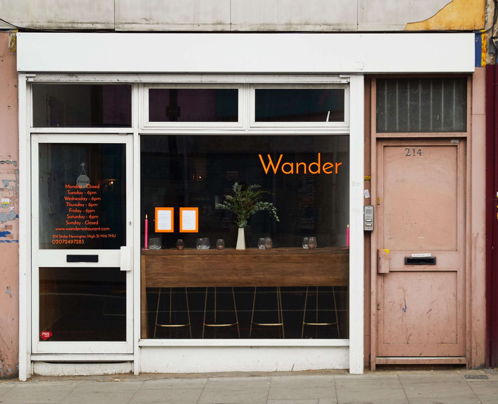 The front of Wander restaurant on Stoke Newington High Street in London