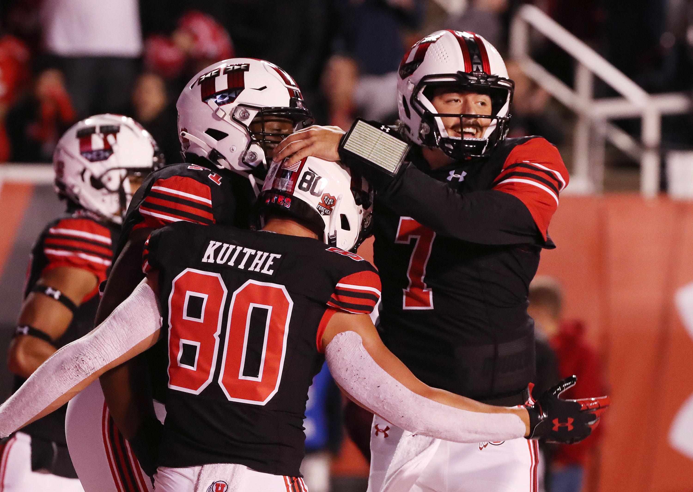 Utah Utes quarterback Cameron Rising (7) celebrates his touchdown against the Arizona State Sun Devils.