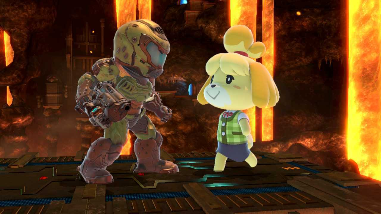 Doom Slayer and Isabelle hang out in a screenshot from Super Smash Bros. Ultimate