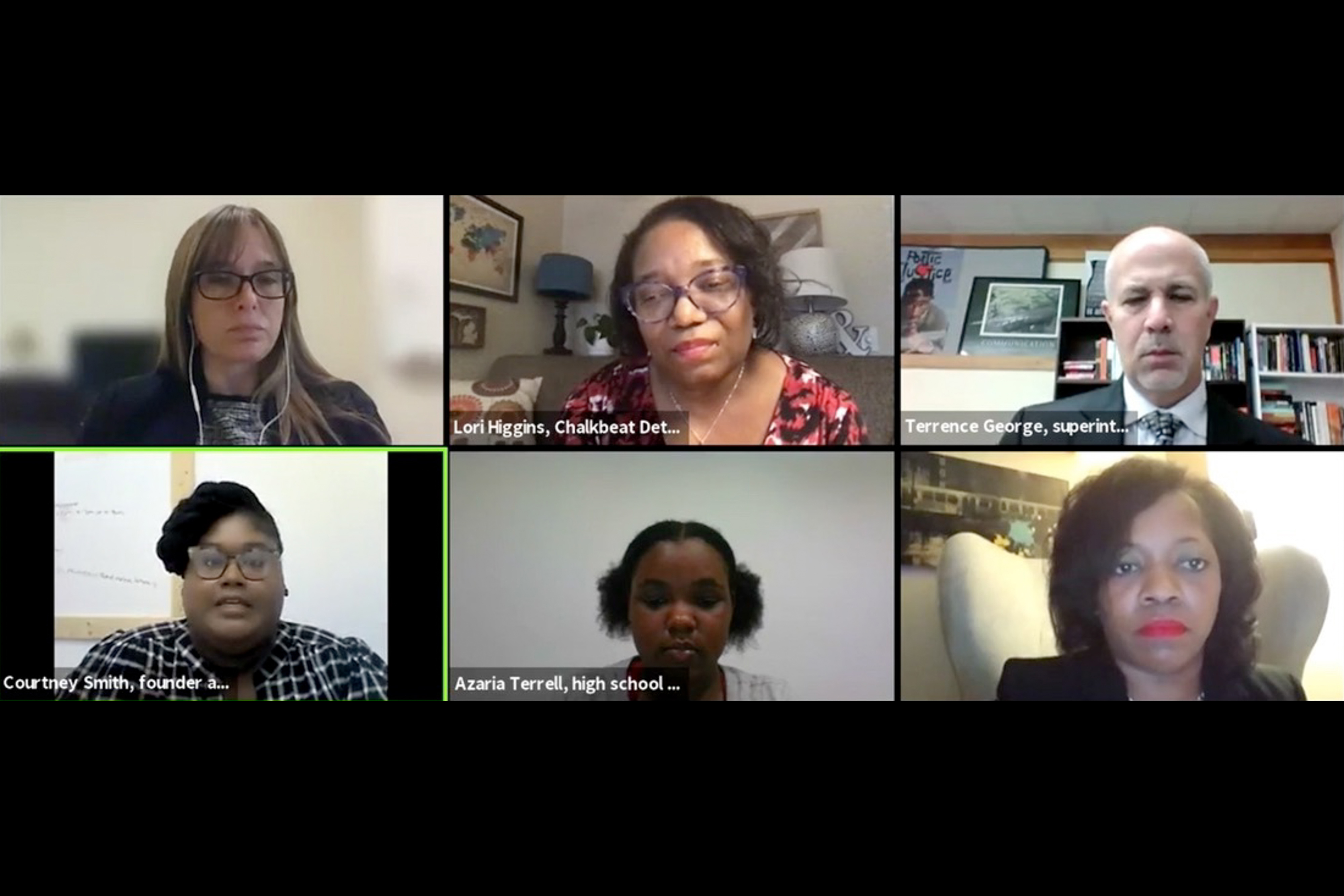 Chalkbeat Detroit Bureau Chief Lori Higgins moderates a panel on student homelessness with five others on Zoom.