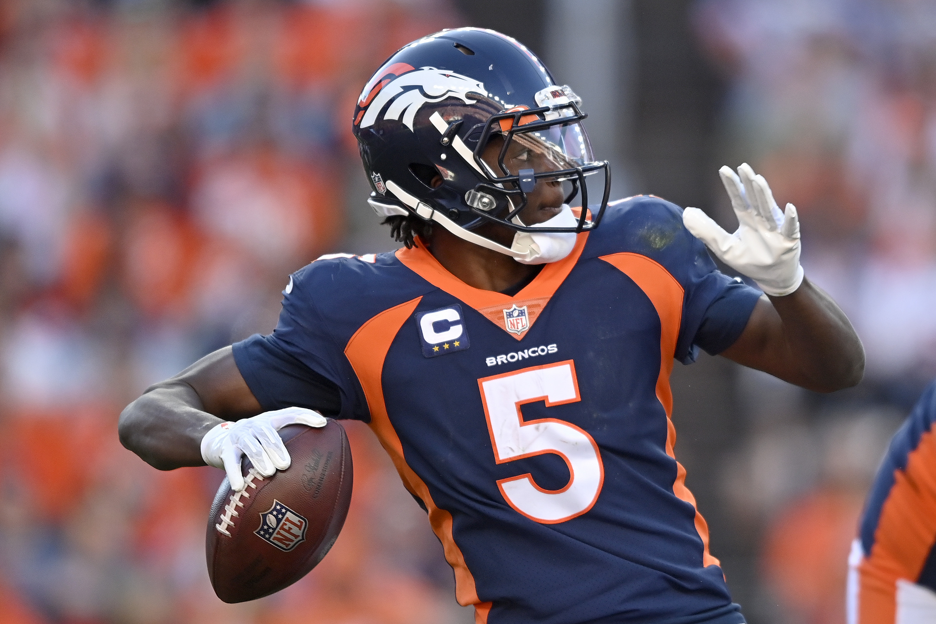 Teddy Bridgewater #5 of the Denver Broncos looks to throw the ball against the Las Vegas Raiders during the third quarter at Empower Field At Mile High on October 17, 2021 in Denver, Colorado.