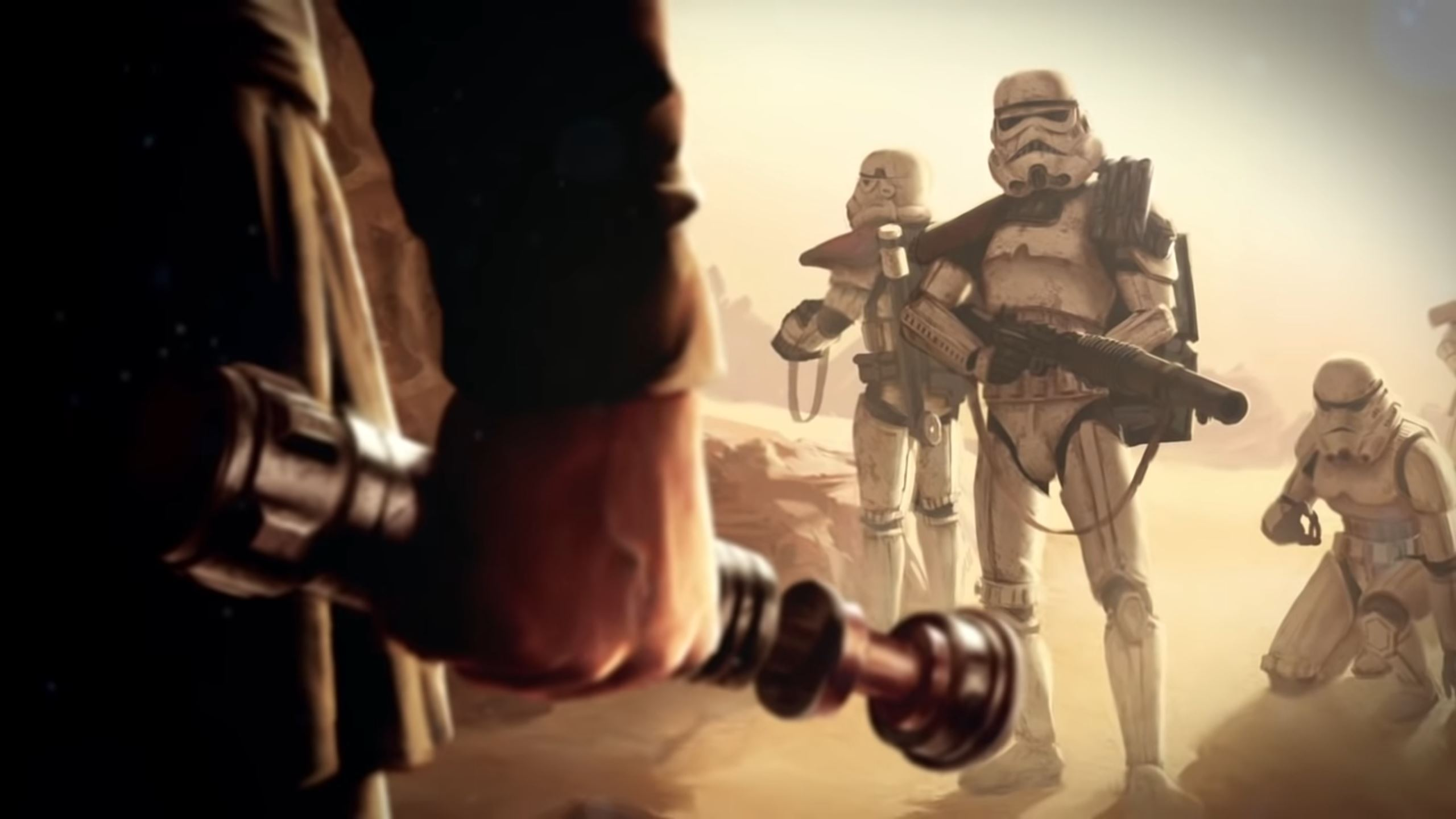 Luke Skywalker stares down a pair of hapless stormtroopers. His silhouette of his hand-made lightsaber takes up the foreground.