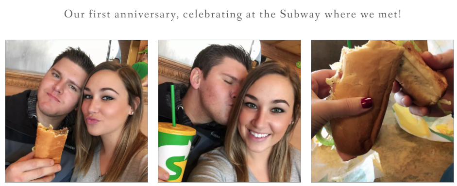 Three shots of the couple posing with sandwiches and a drink