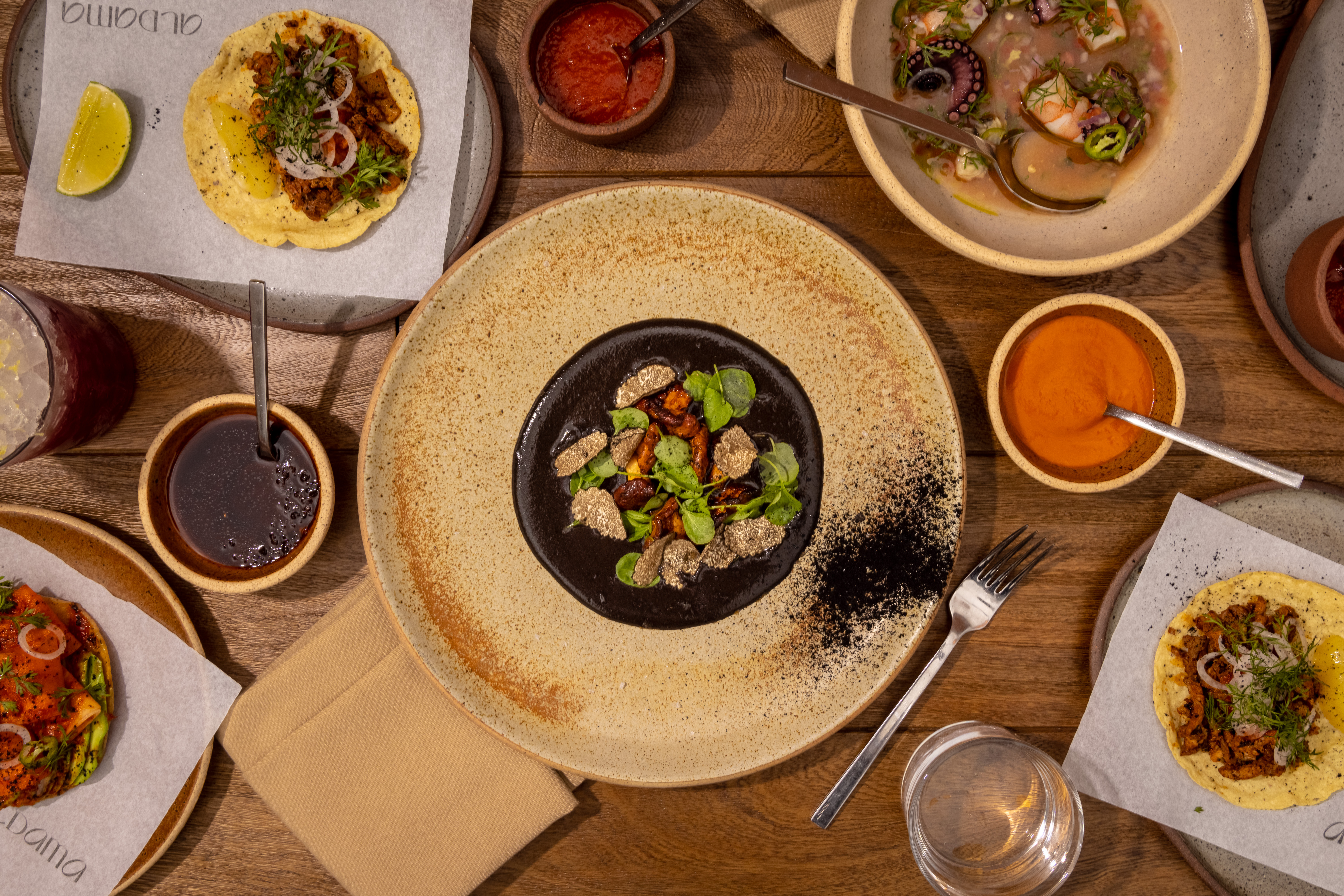 Black mole on a ceramic plate sits in the middle of the overhead shot; assorted other issues include an al pastor taco and a colorful tostada surround it
