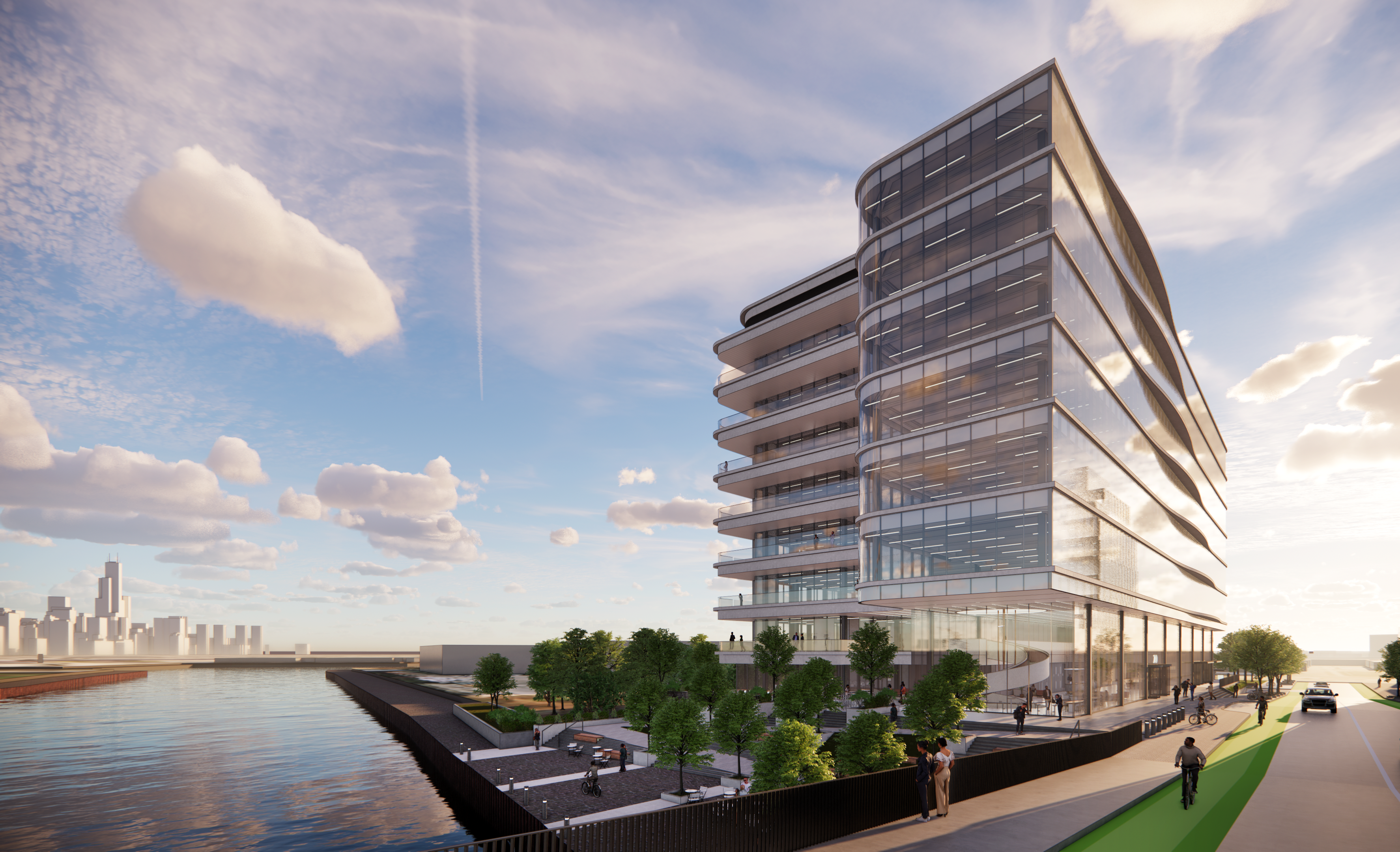 A rendering of the life sciences building planned at Lincoln Yards.