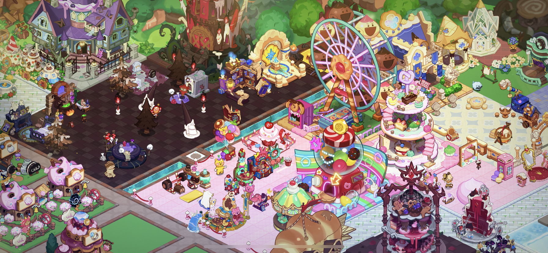A preview of a Cookie Run: Kingdom kingdom, covered in pink and brown accessories.