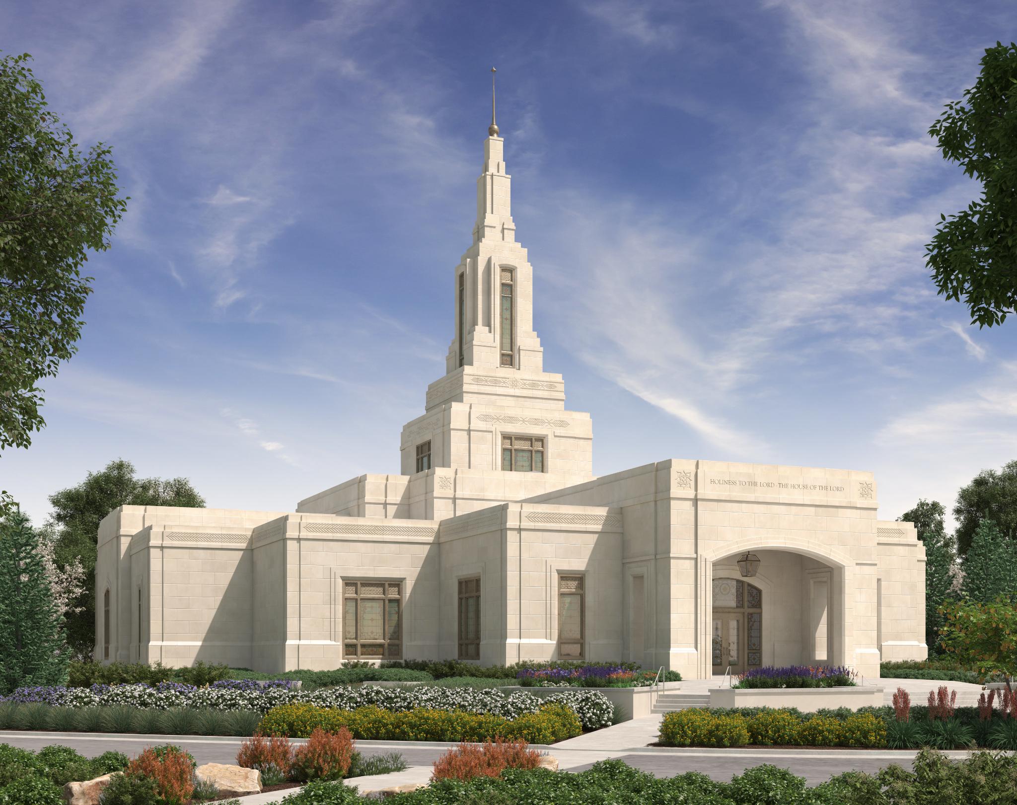 An artist's rendering of the Farmington New Mexico Temple.