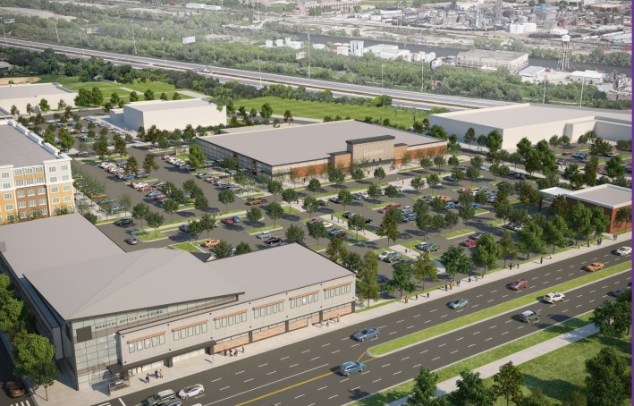 A rendering of commercial buildings planned for the LeClaire Courts site, including a medical office building along Cicero Avenue and a grocery store set back from the street.