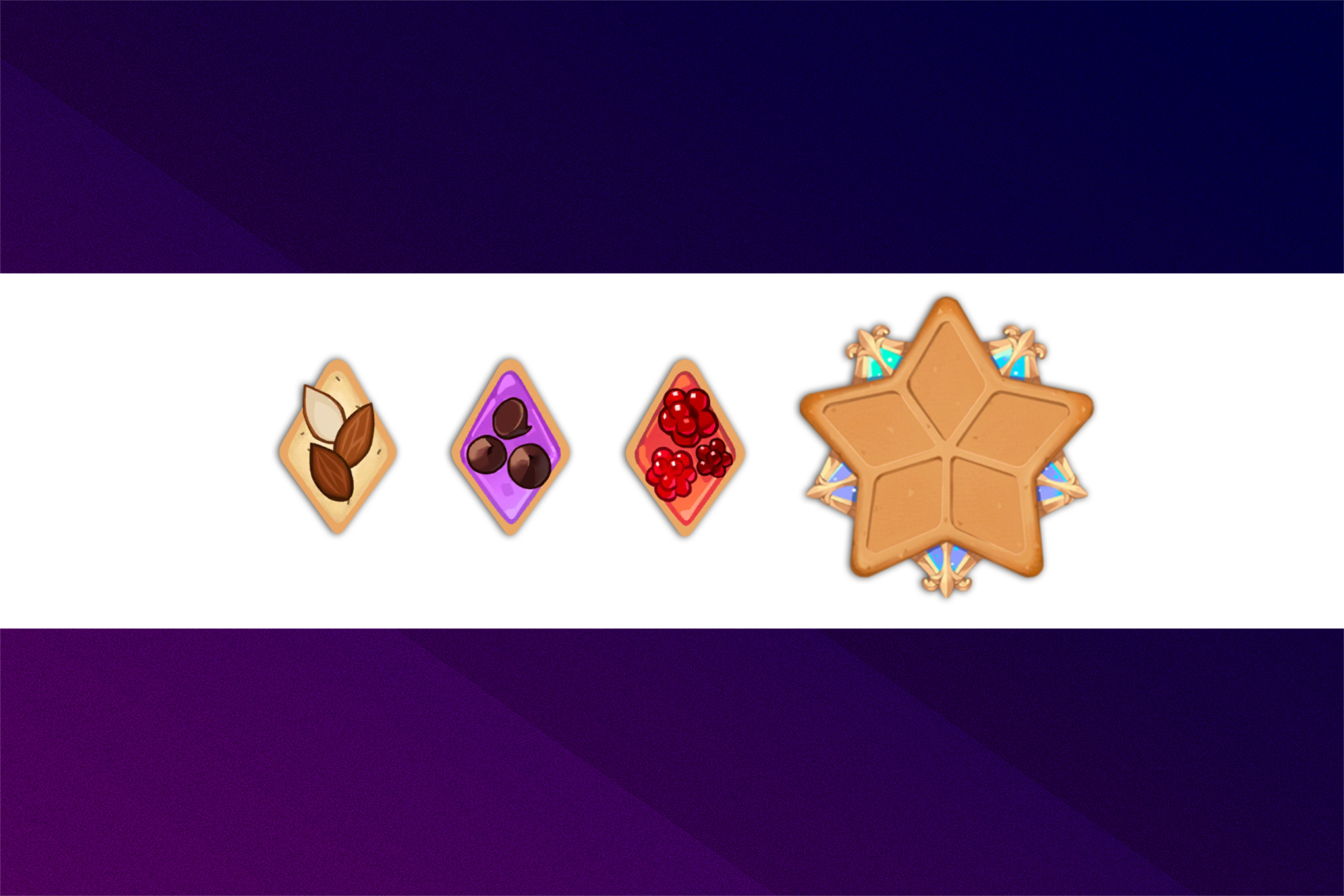 Cookie Run: Kingdom Toppings on a white strip on a purple background.