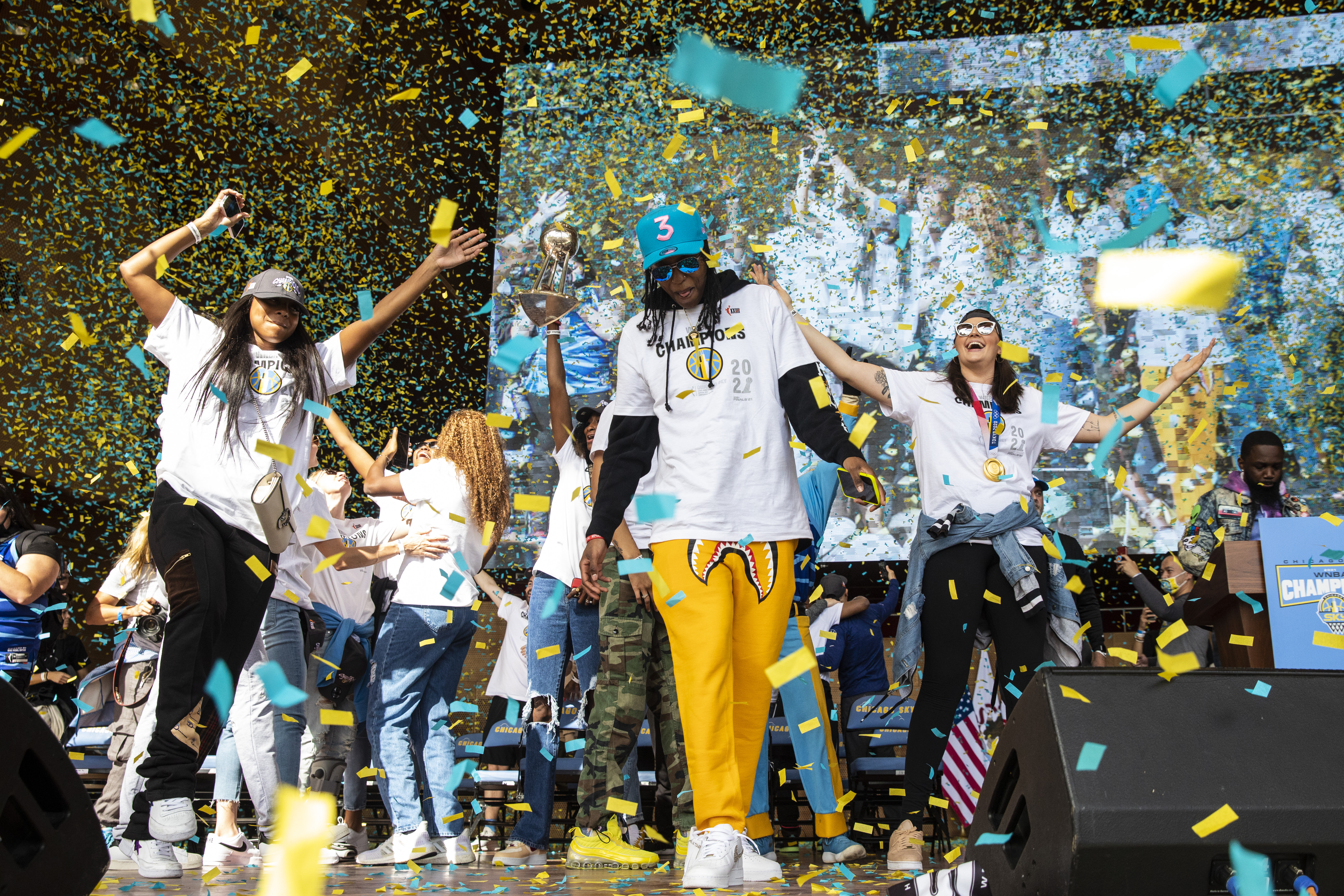 Chicago Sky players celebrate their WNBA Championship title Tuesday at Pritzker Pavilion.