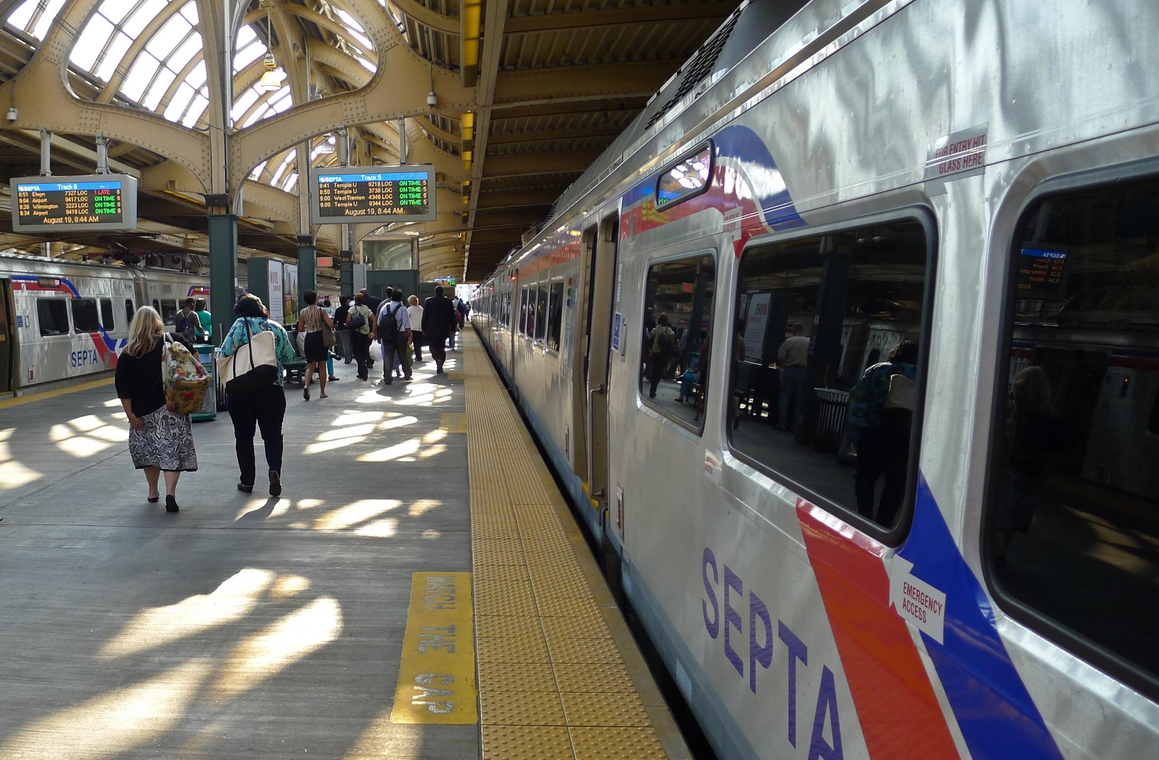 Passengers boarding a SEPTA train in Philadelphia.