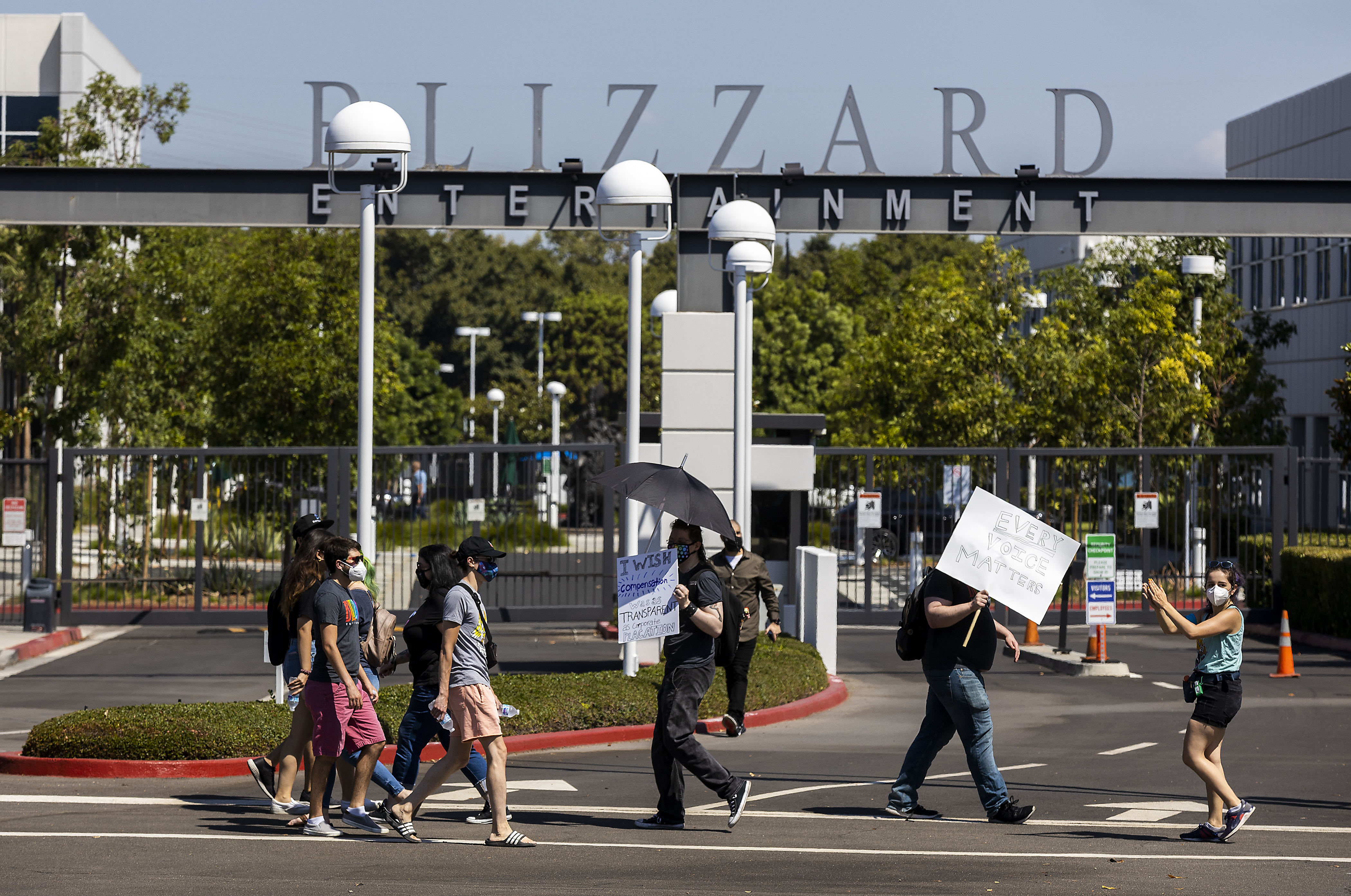 Activision Blizzard employees stage a walkout in the response from company leadership to a lawsuit highlighting alleged harassment, inequality