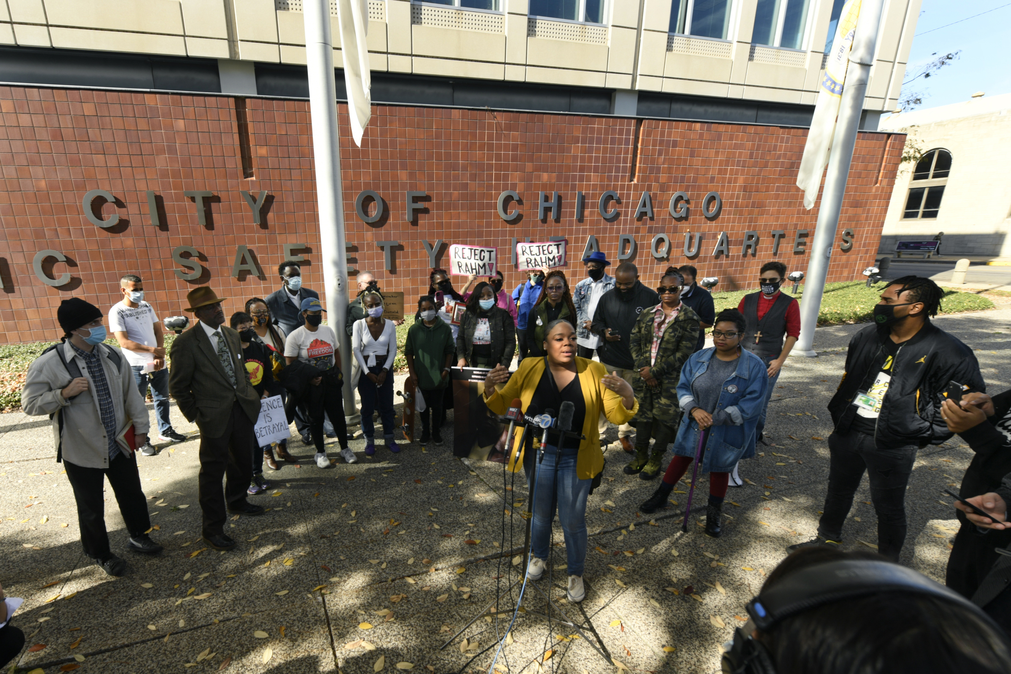 Citing the Laquan McDonald shooting by a Chicago police officer, activists protest Rahm Emanuel's nomination to be U.S. ambassador to Japan at the Chicago Police headquarters the day before his Senate confirmation hearing.