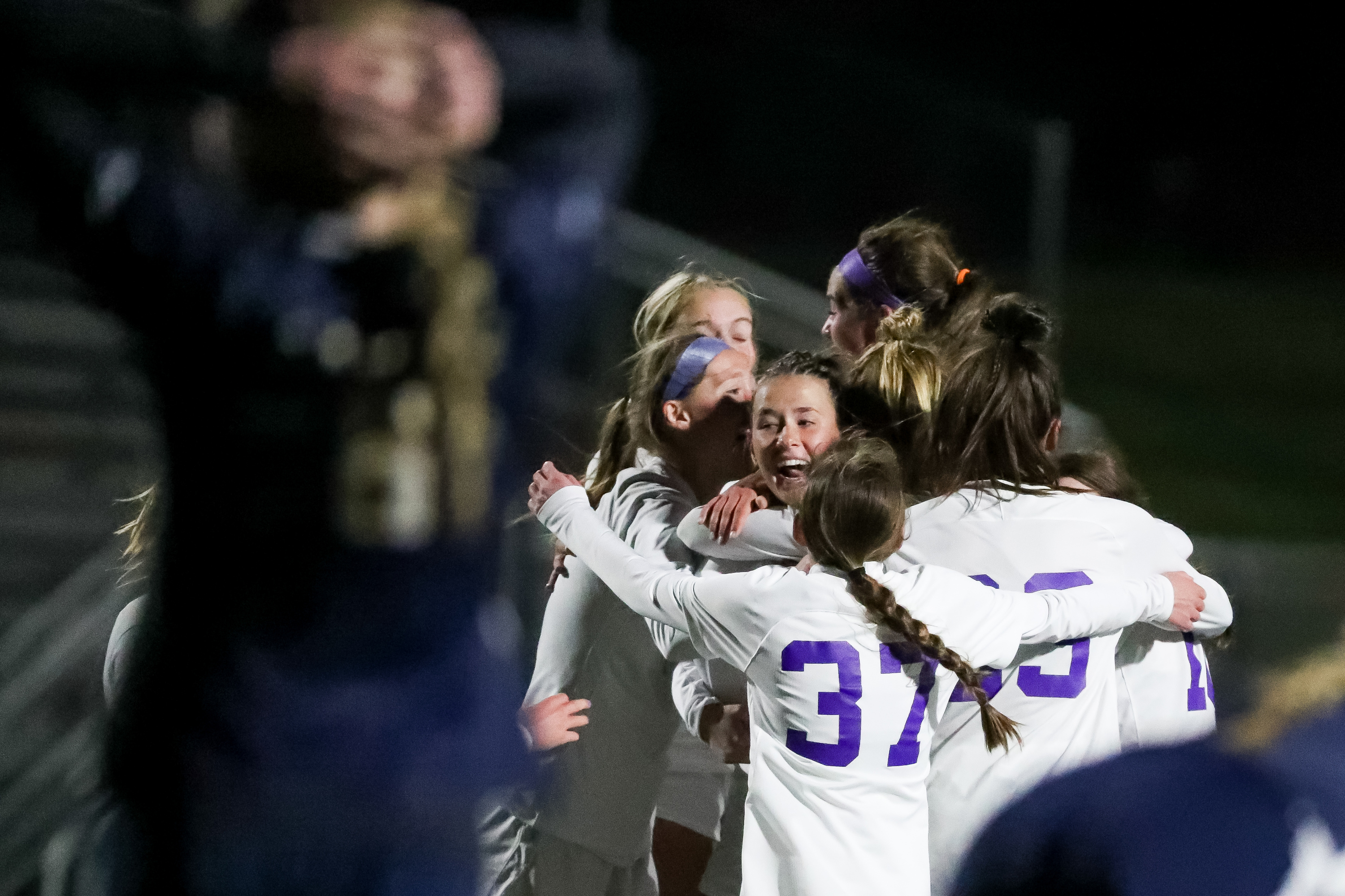 Lehi players celebrate their win over Bonneville in a 5A girls soccer semifinal game at Juan Diego