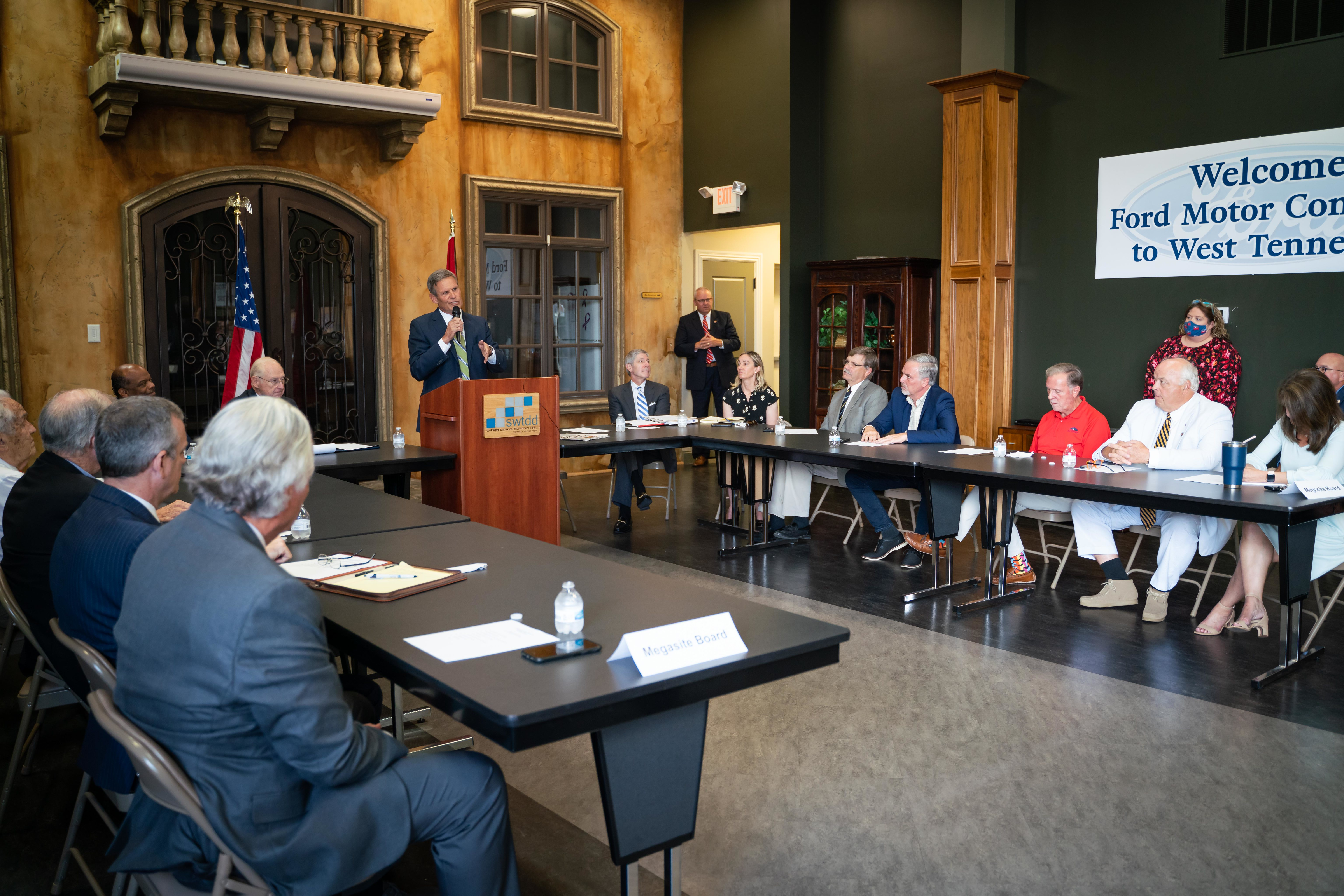Tennessee Governor Bill Lee speaks at the Memphis Regional Megasite Authority Meeting.
