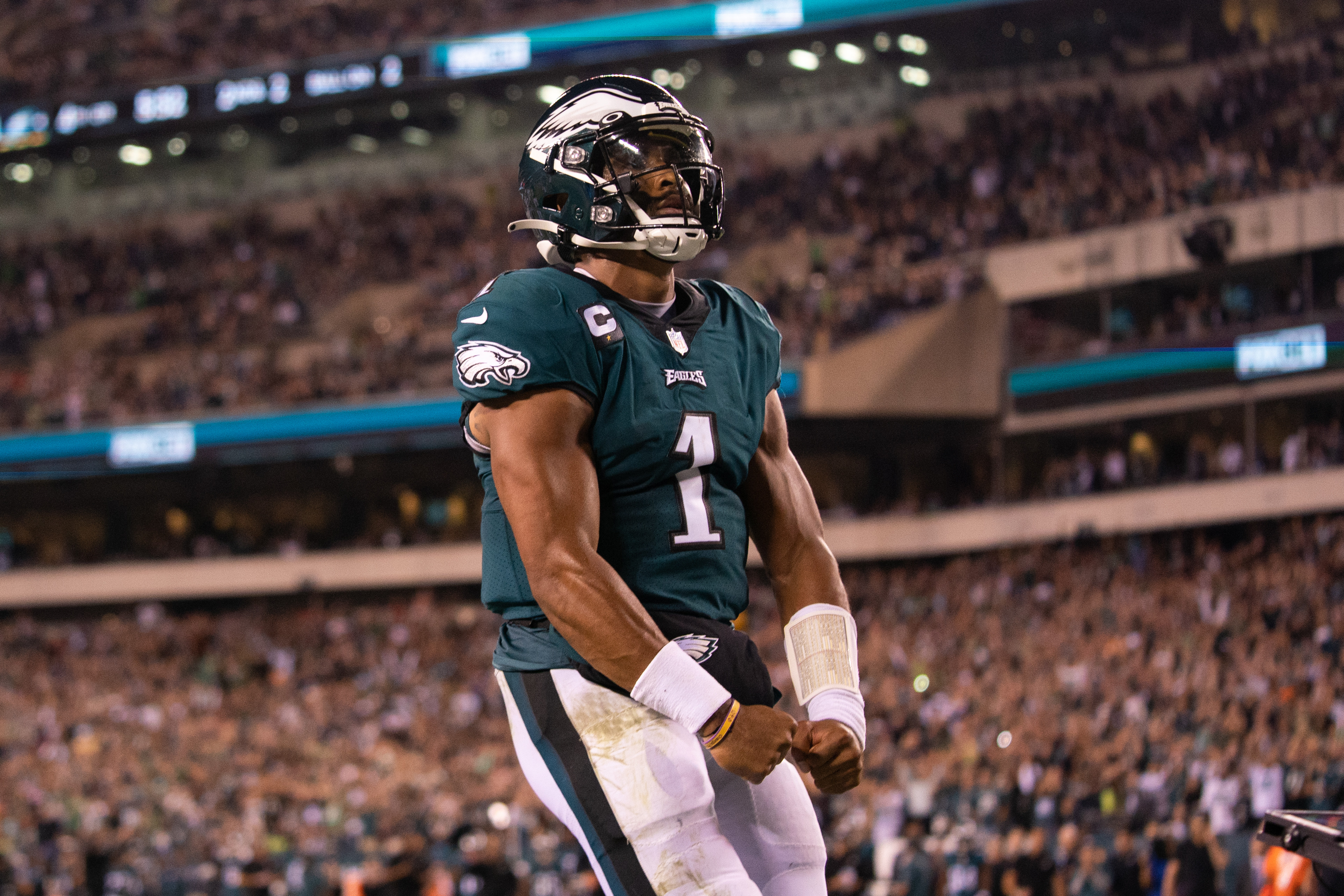 Philadelphia Eagles quarterback Jalen Hurts (1) reacts after his touchdown run against the Tampa Bay Buccaneers during the fourth quarter at Lincoln Financial Field.