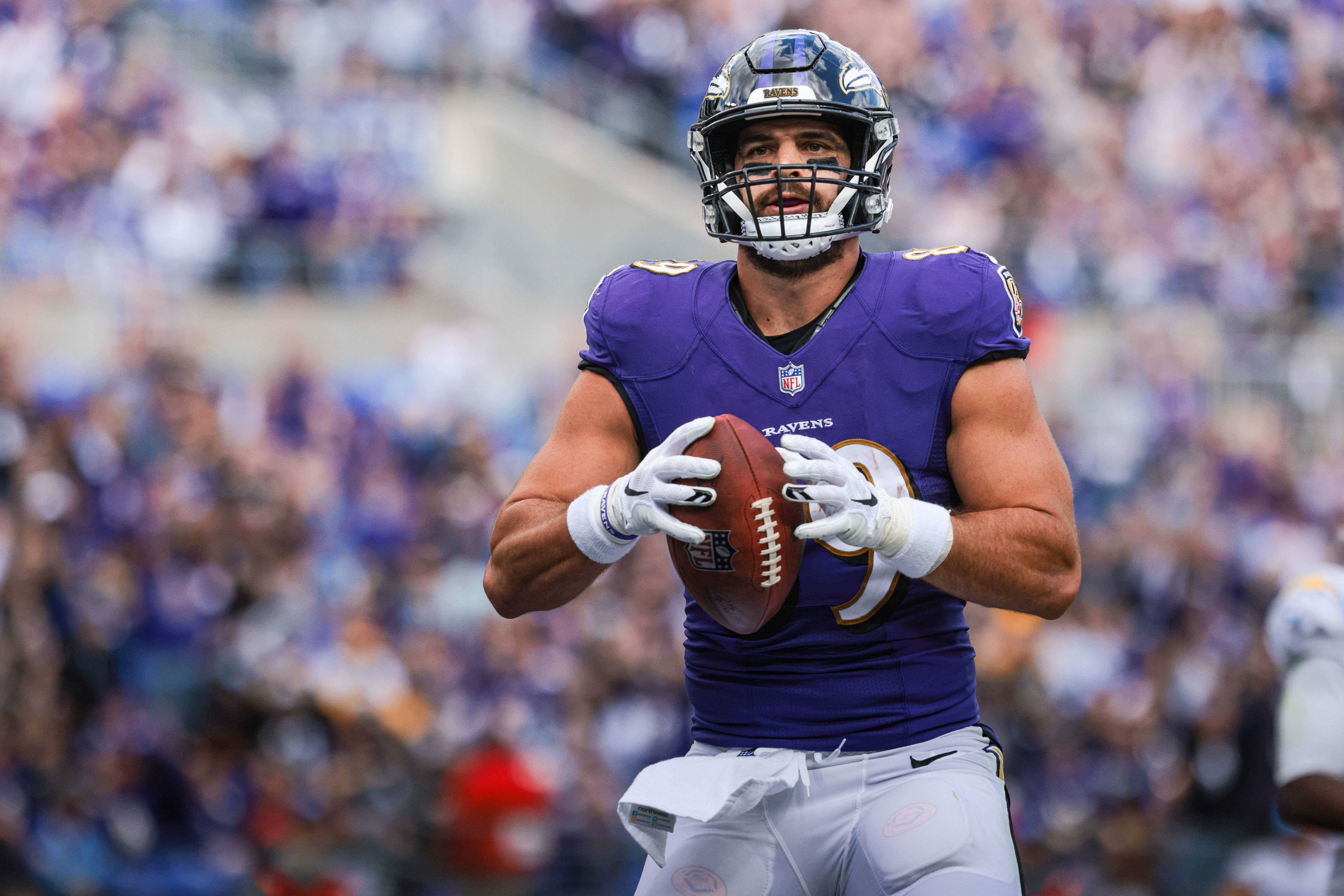 Baltimore Ravens tight end Mark Andrews (89) celebrates his touchdown reception during the second half against the Los Angeles Chargers at M&T Bank Stadium.