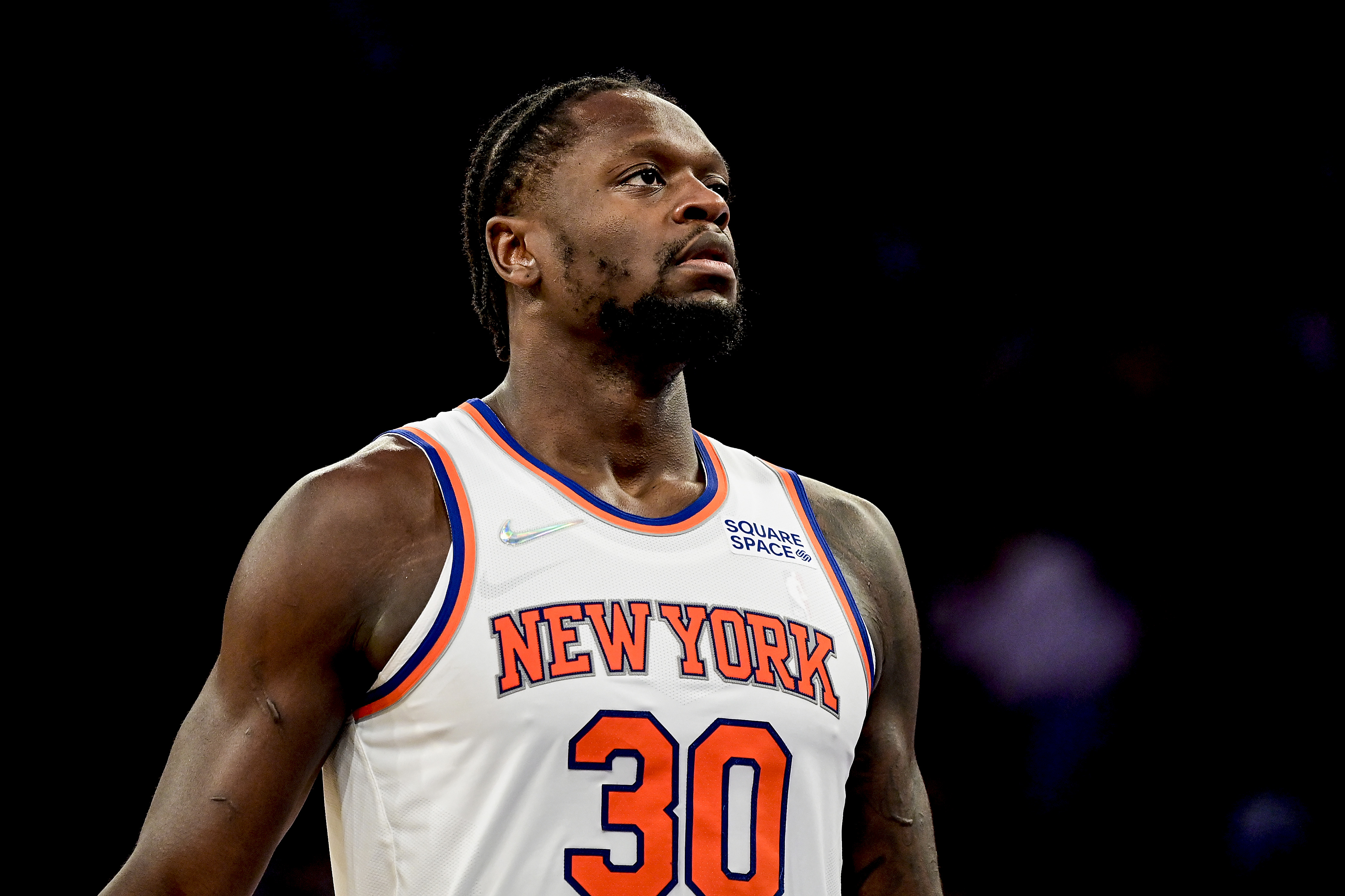 Julius Randle #30 of the New York Knicks looks on against the Washington Wizards during a preseason game at Madison Square Garden on October 15, 2021 in New York City.