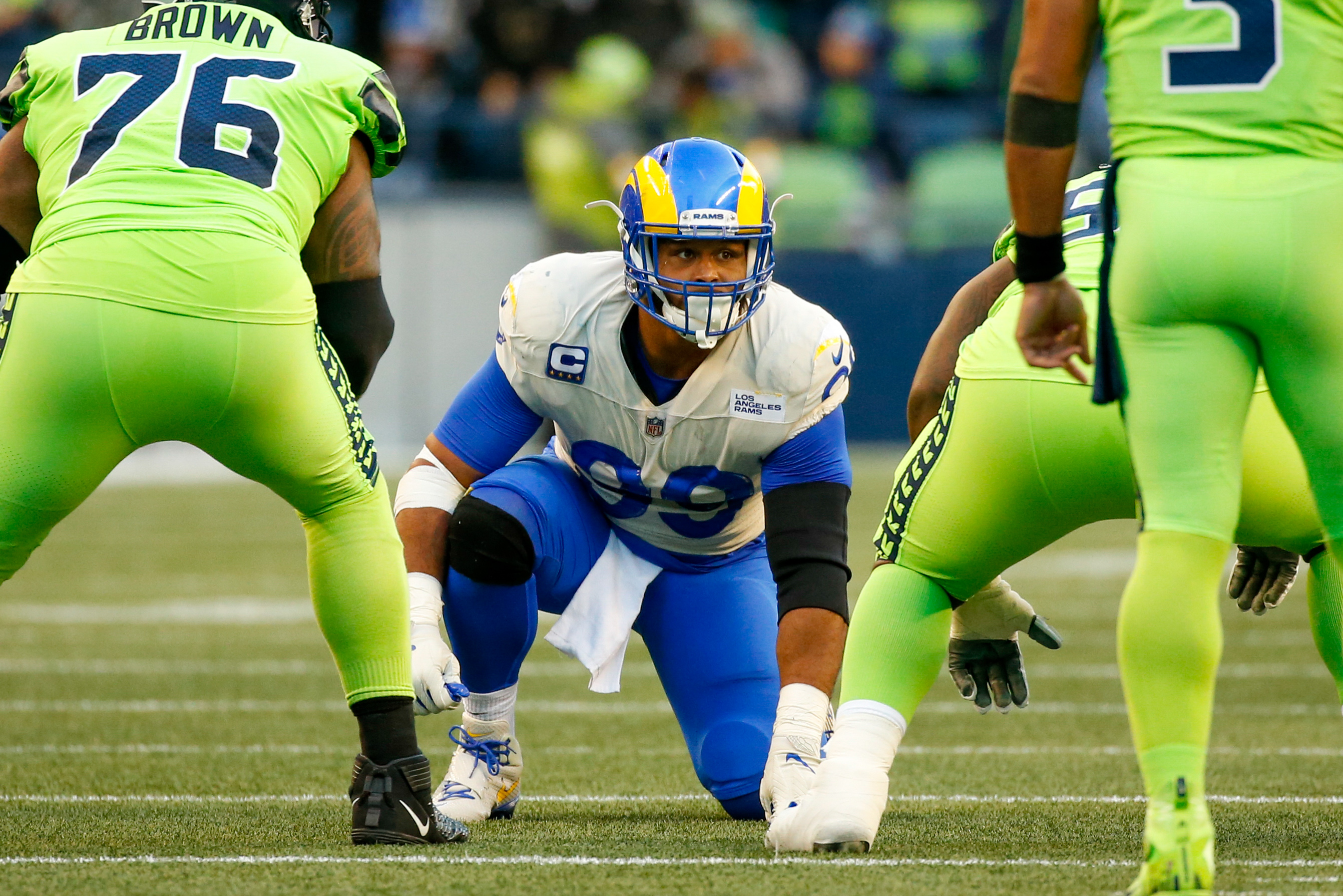 Los Angeles Rams defensive end Aaron Donald (99) waits for a snap against the Seattle Seahawks during the second quarter at Lumen Field.