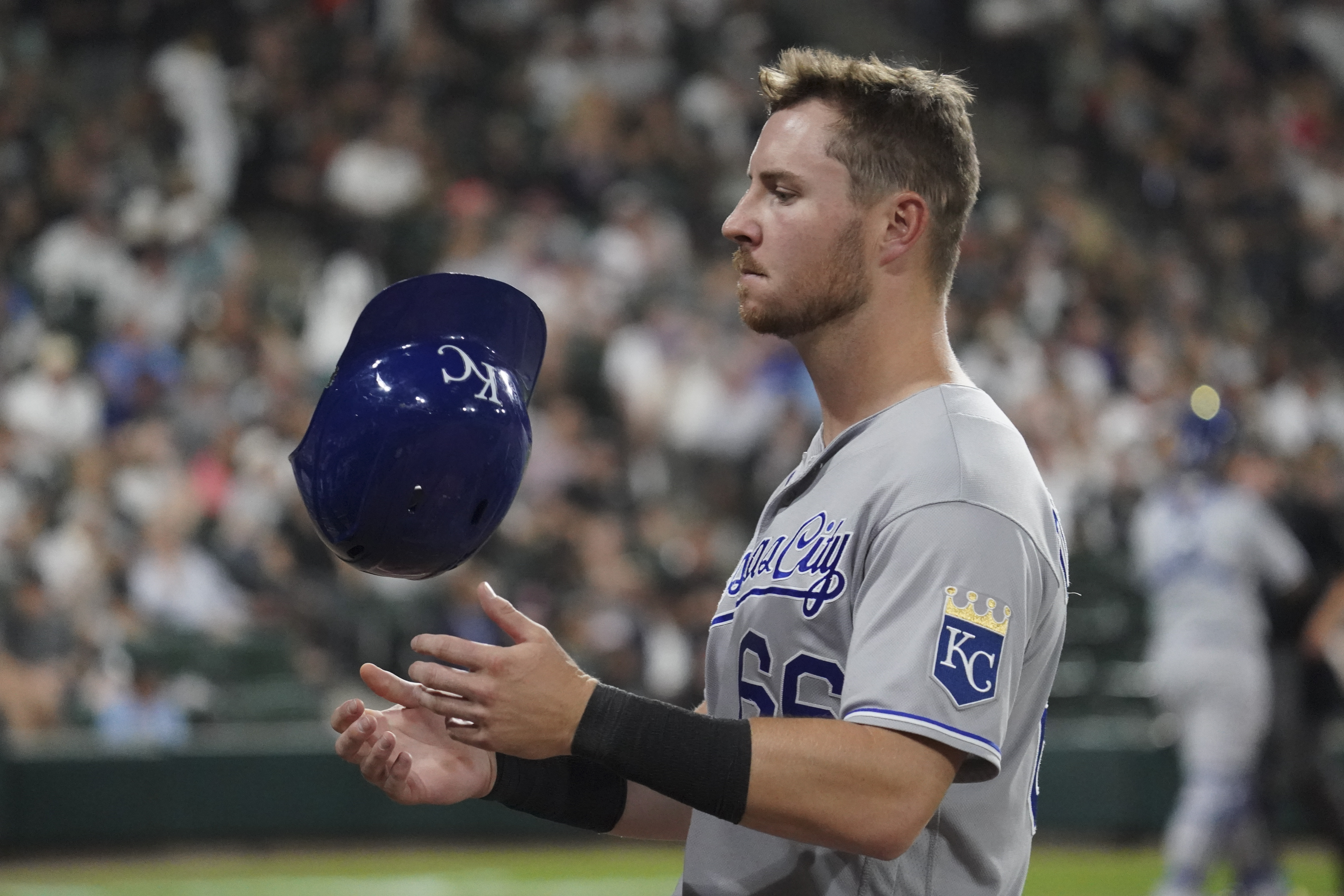 Ryan O'Hearn #66 of the Kansas City Royals reacts during the fifth inning of a game against the Chicago White Sox at Guaranteed Rate Field on August 04, 2021 in Chicago, Illinois.