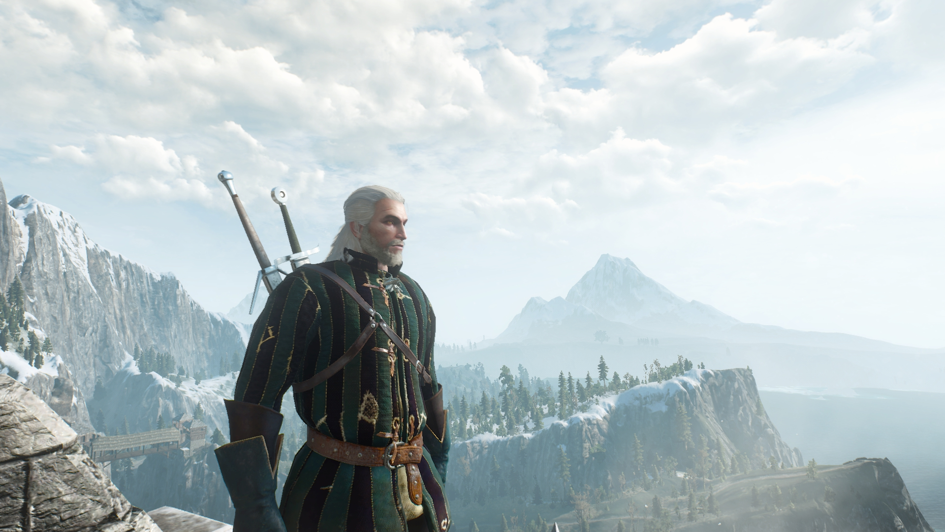 Geralt looks out over the mountains