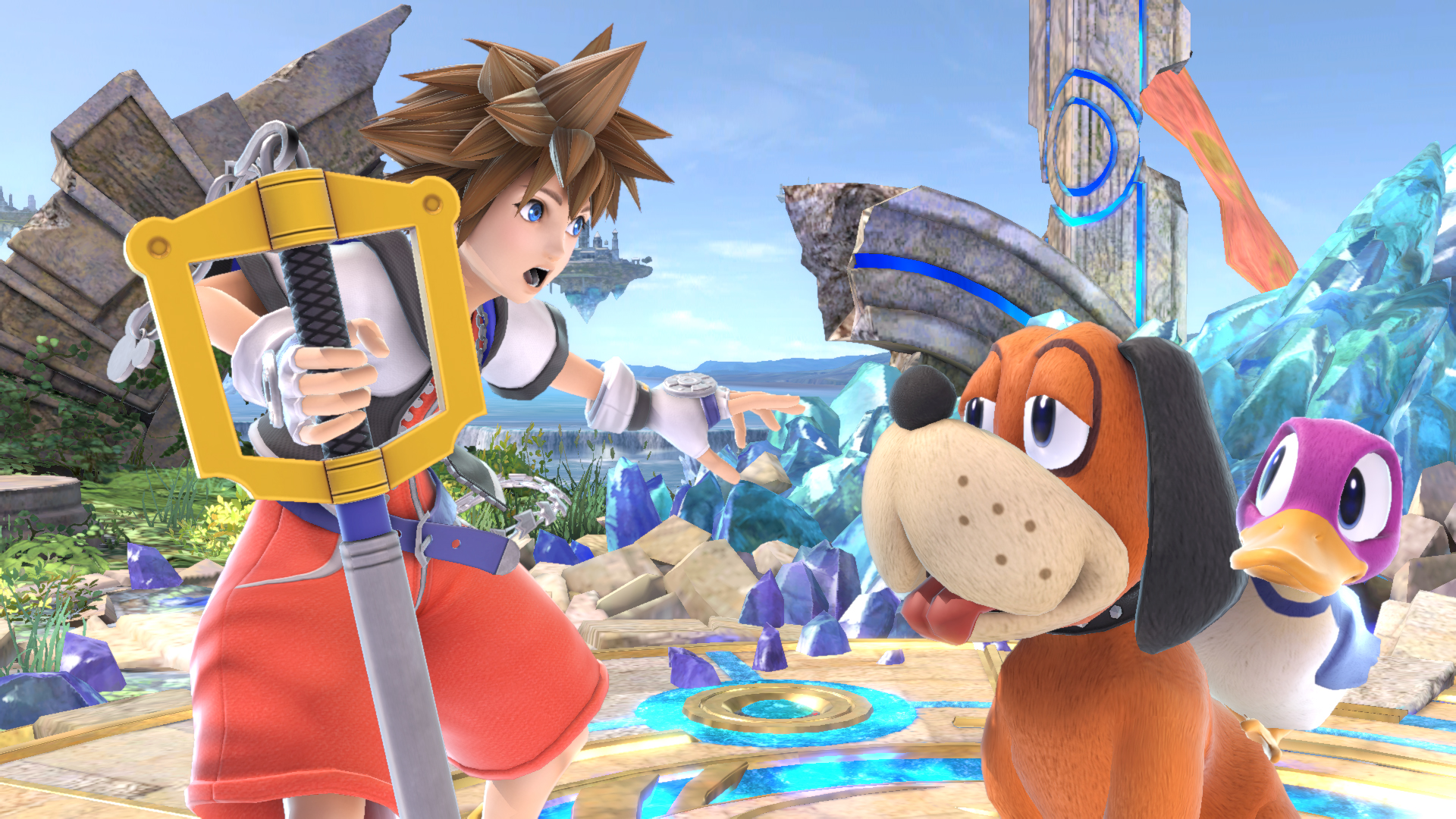 Sora and Duck Hunt in Super Smash Bros. Ultimate