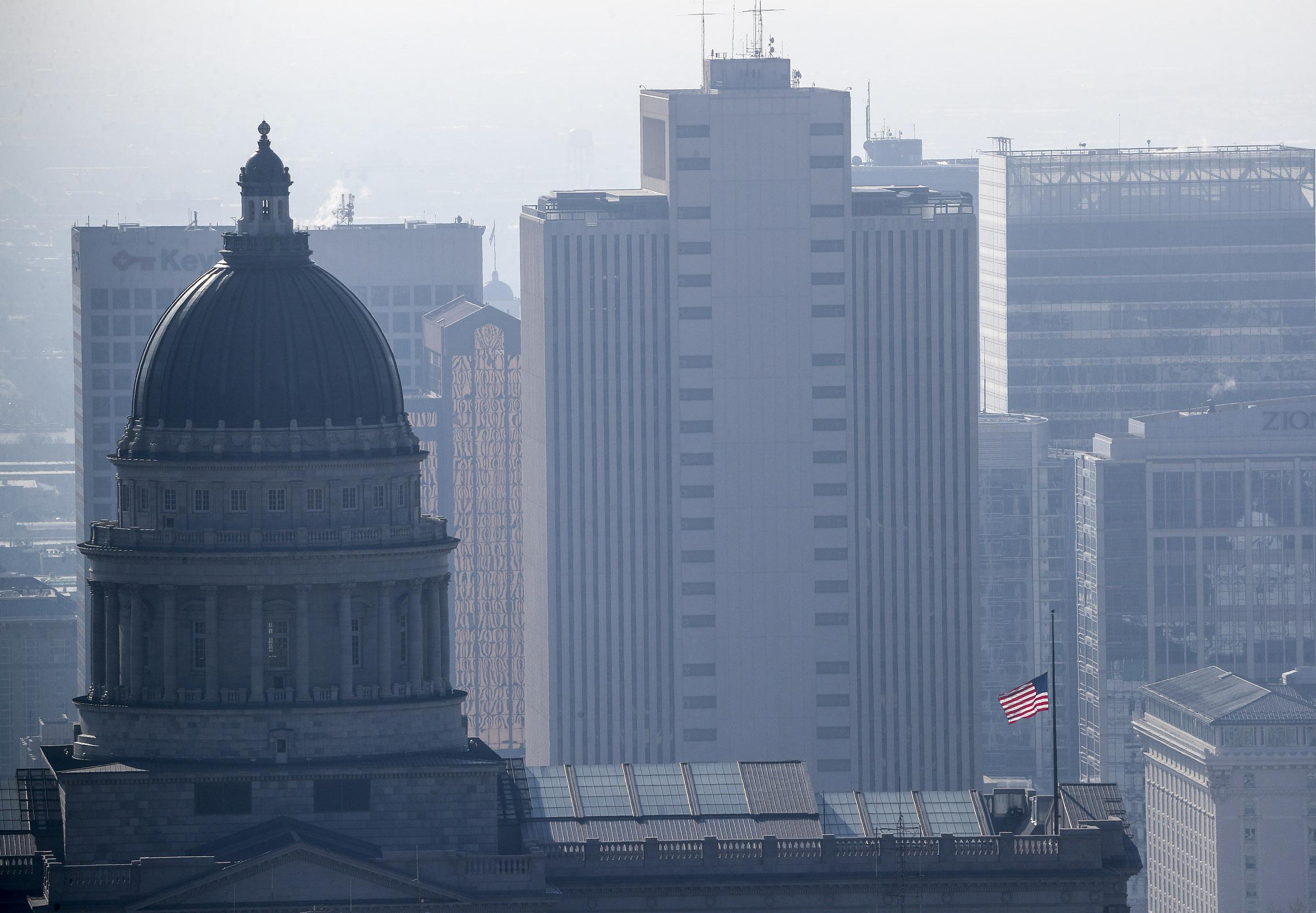 The Utah Capitol and the skyline of Salt Lake City.