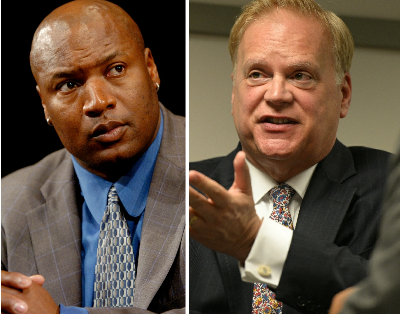 Former baseball and football athlete Bo Jackson, left, in 2005; lllinois Gaming Board chairman Charles Schmadeke, right, in 2019.
