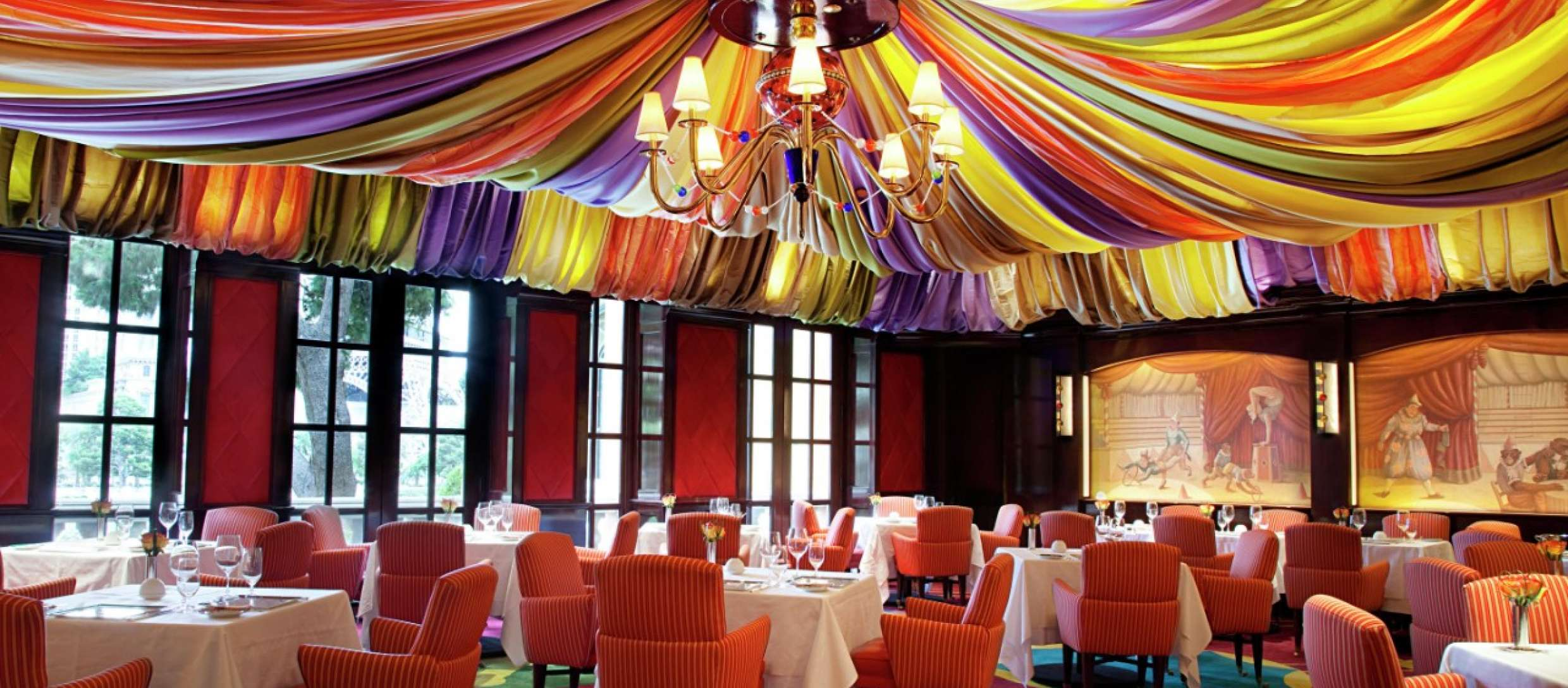 colourful restaurant that looks like a circus