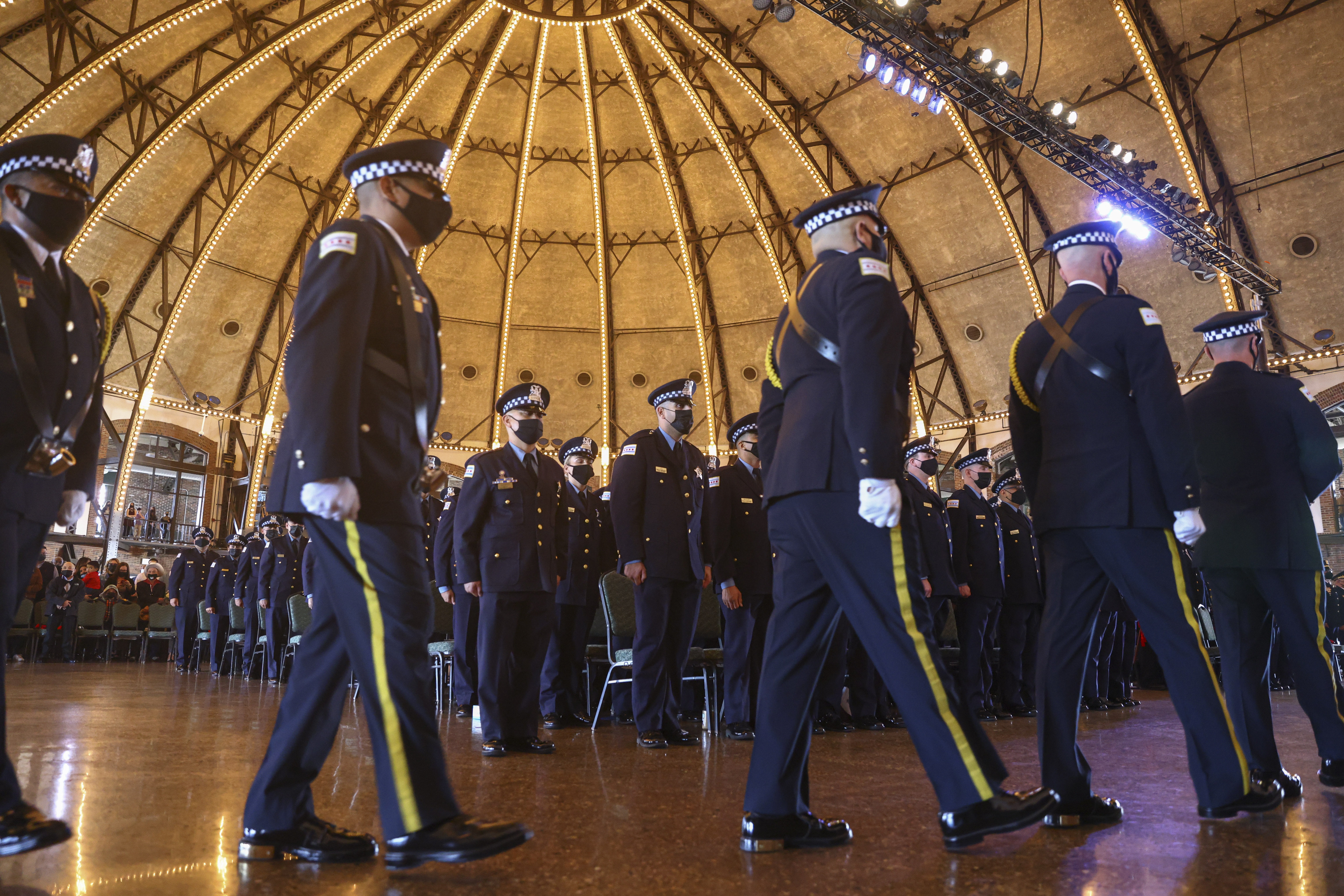 Wednesday's Chicago Police Department graduation ceremony at Navy Pier was the first since early in the pandemic. Newly graduated class of police officers during a graduation ceremony, Wednesday, Oct. 20, 2021 at Navy Pier. | Anthony Vazquez/Sun-Times