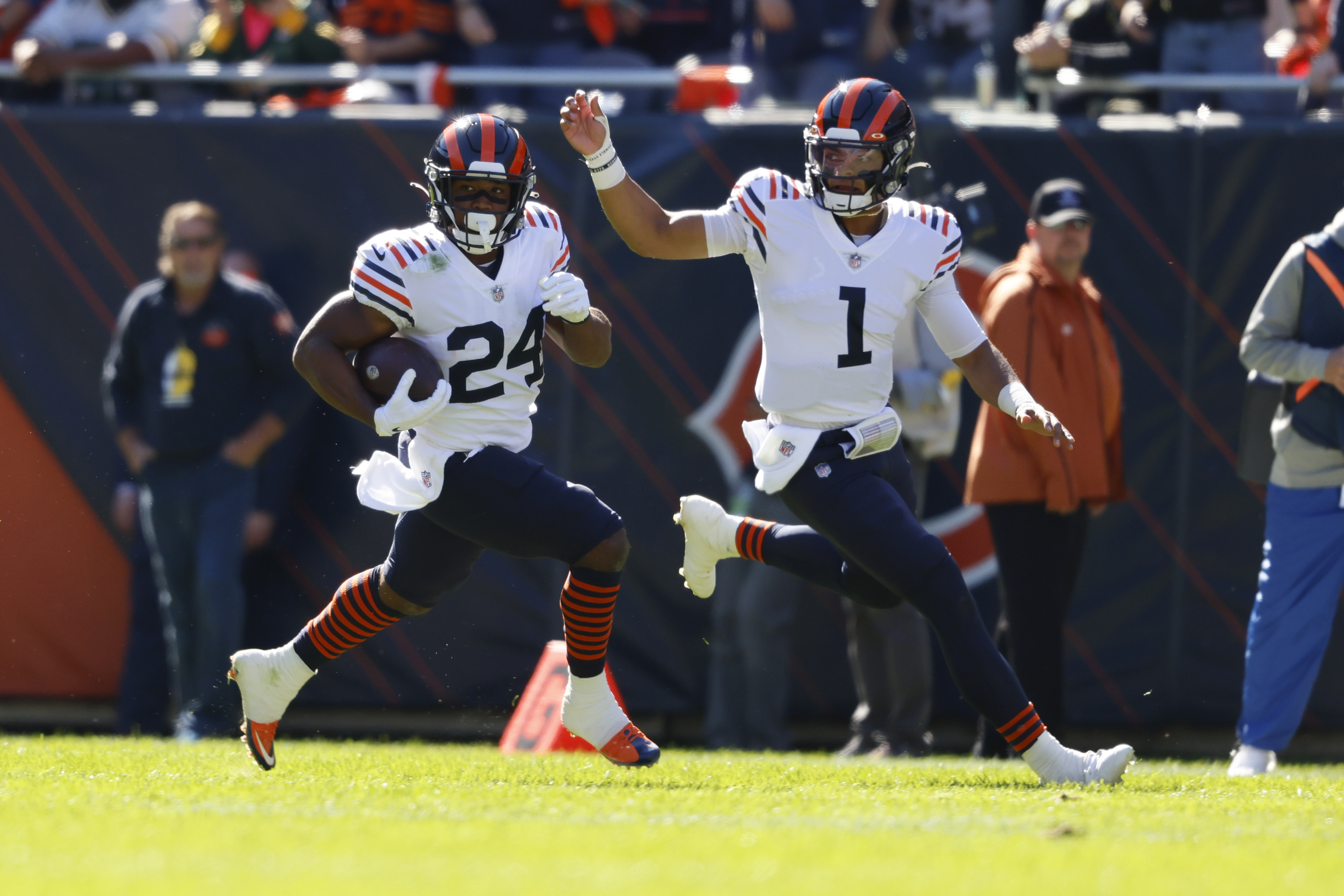 Bears rookie running back Khalil Herbert (24) had 19 carries for 97 yards and one-yard touchdown in the Bears' 24-14 loss to the Packers last week at Soldier Field.