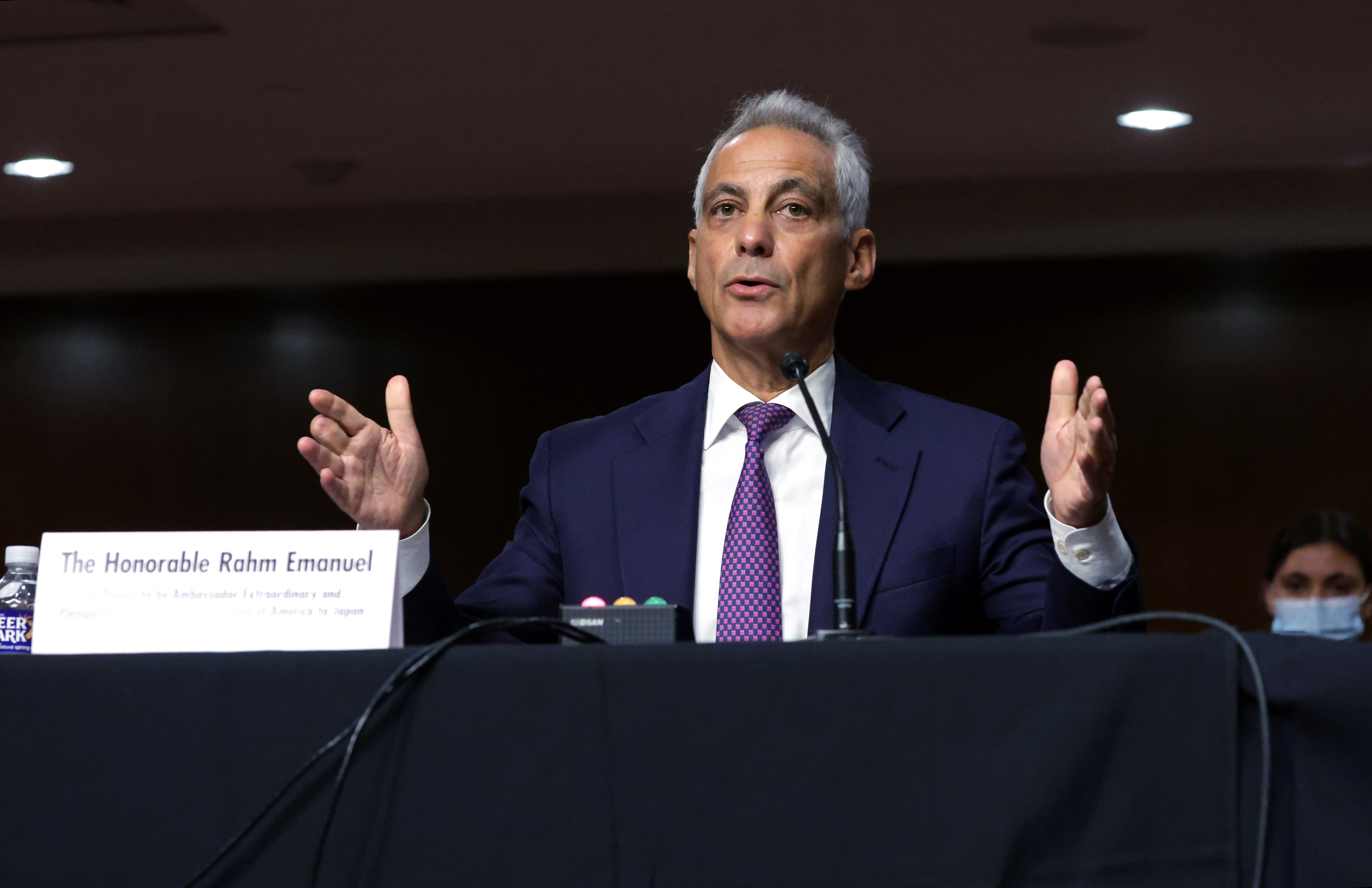 Rahm Emanuel testifies Wednesday at his confirmation hearing on Capitol Hill.