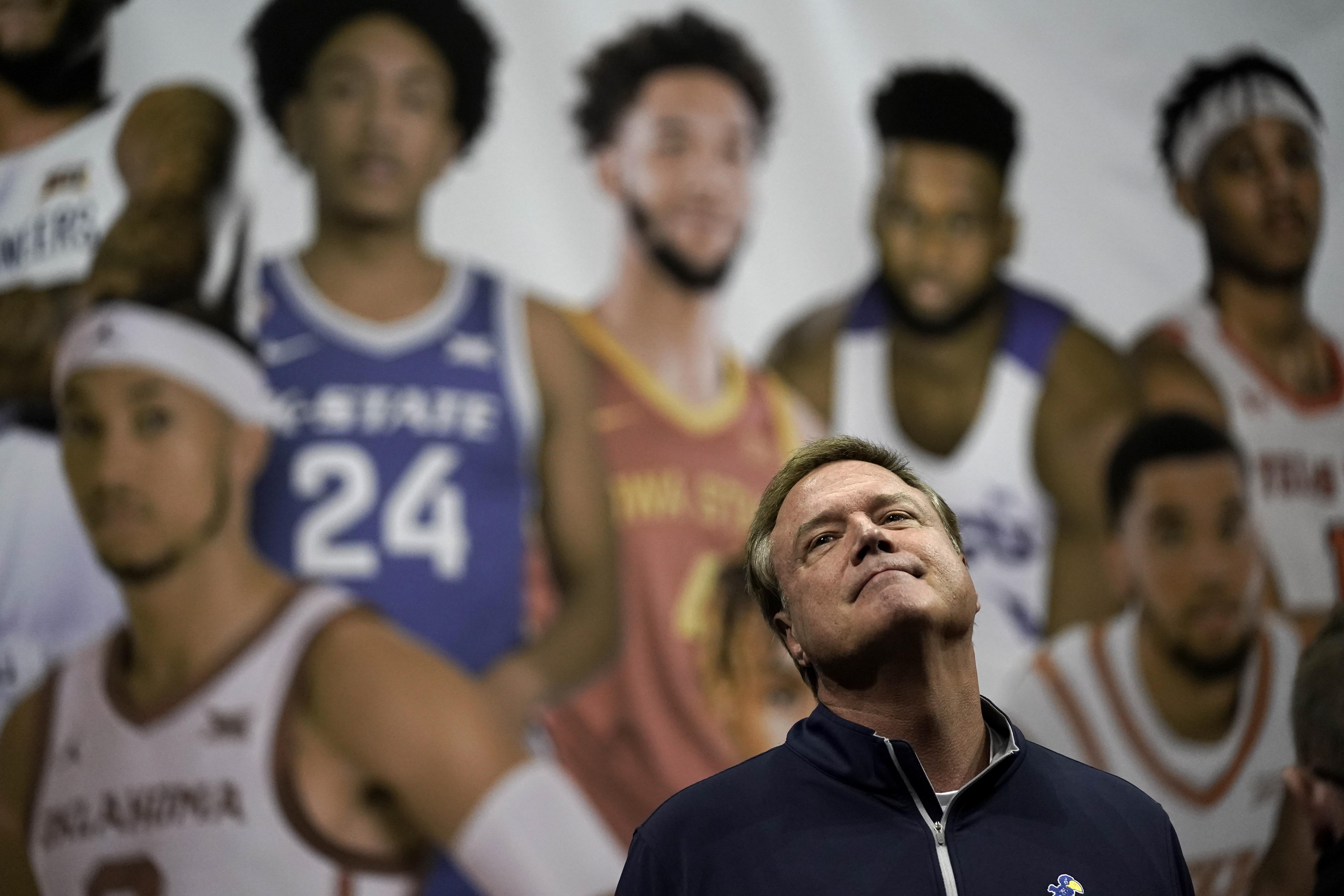 Kansas coach Bill Self waits for group photo during Big 12 basketball media day Wednesday, Oct. 20, 2021, in Kansas City, Mo.