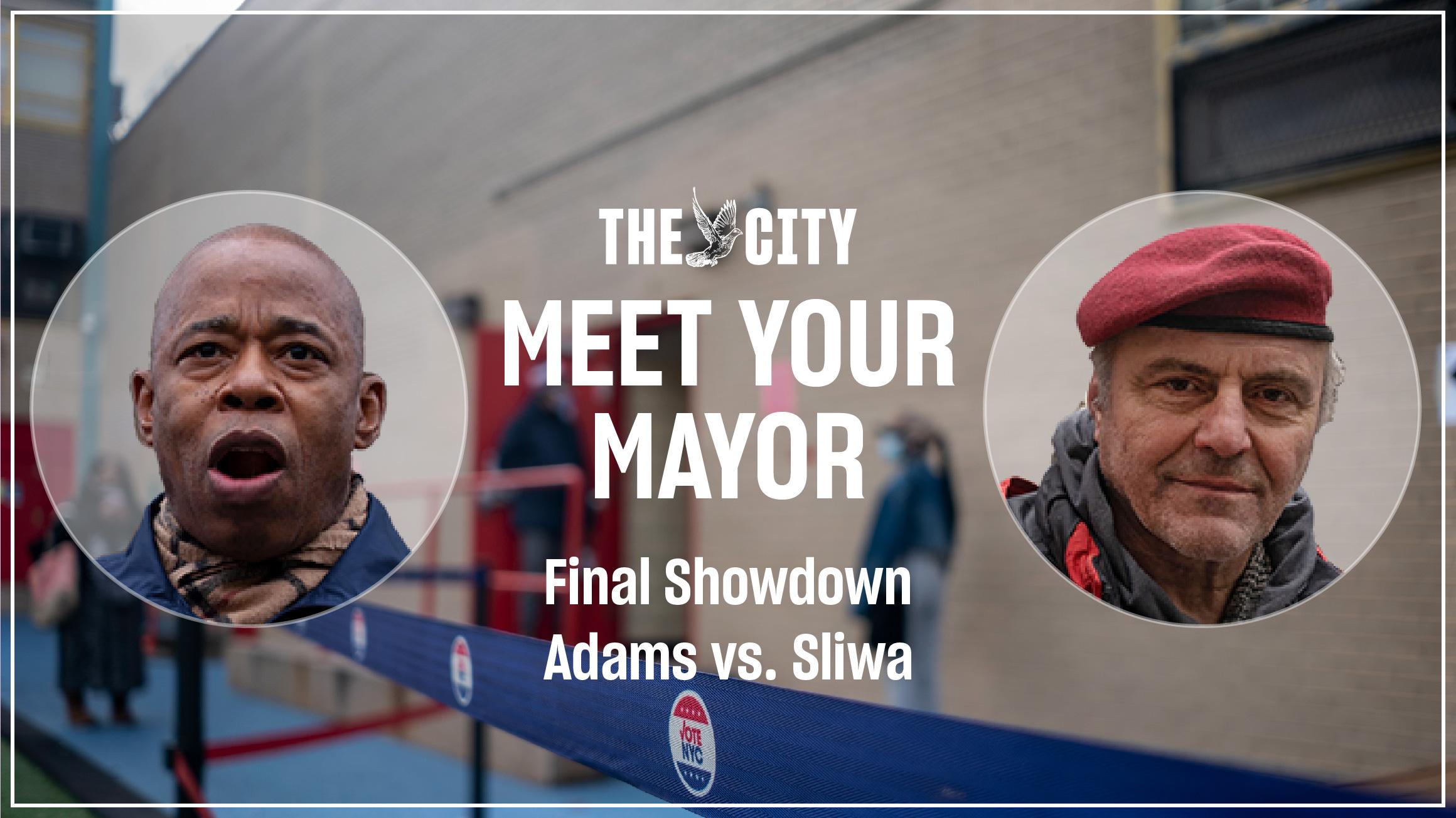 Headshots of Eric Adams and Curtis Sliwa.