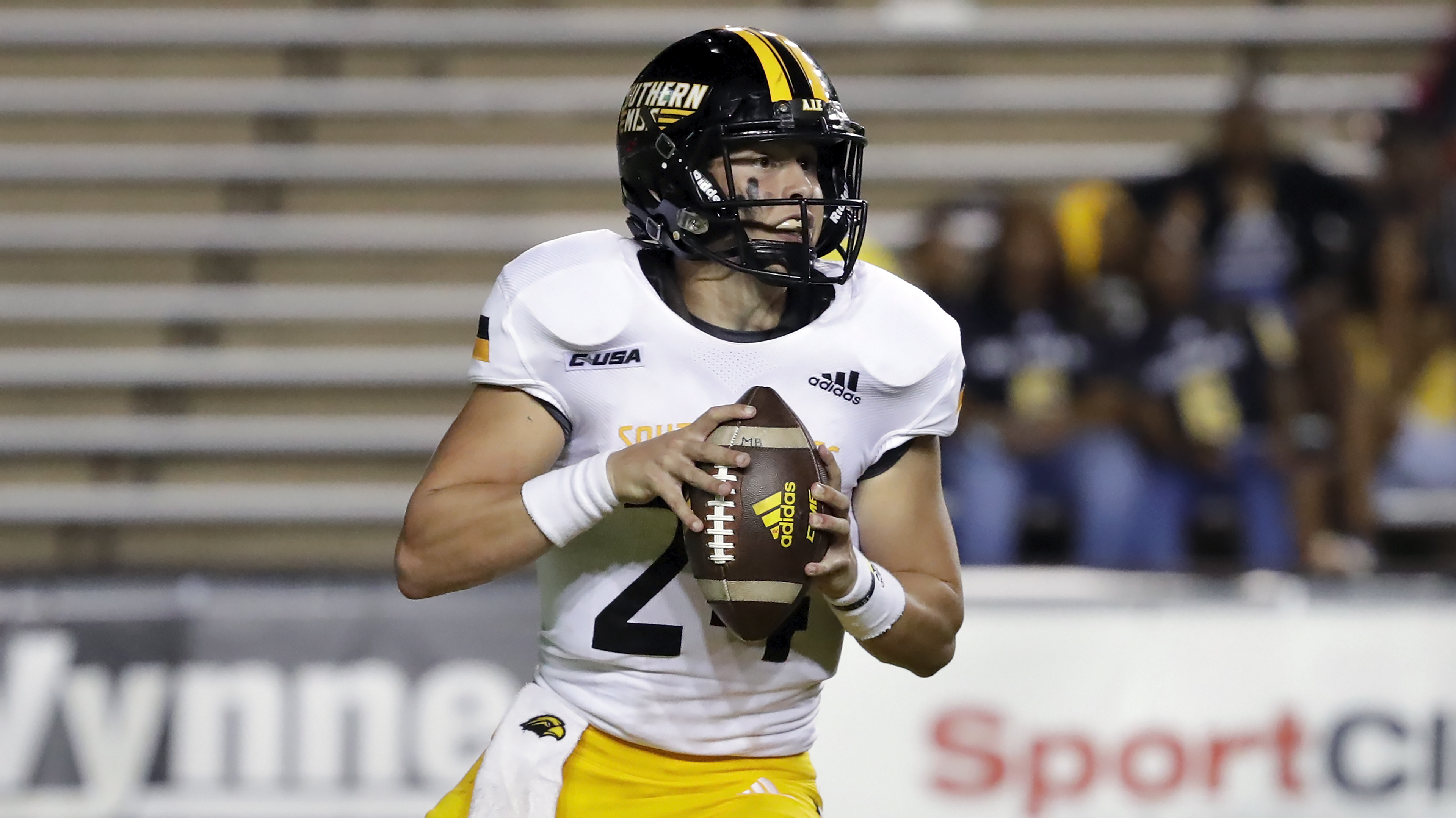 Southern Mississippi quarterback Jake Lange during an NCAA college football game against Rice.